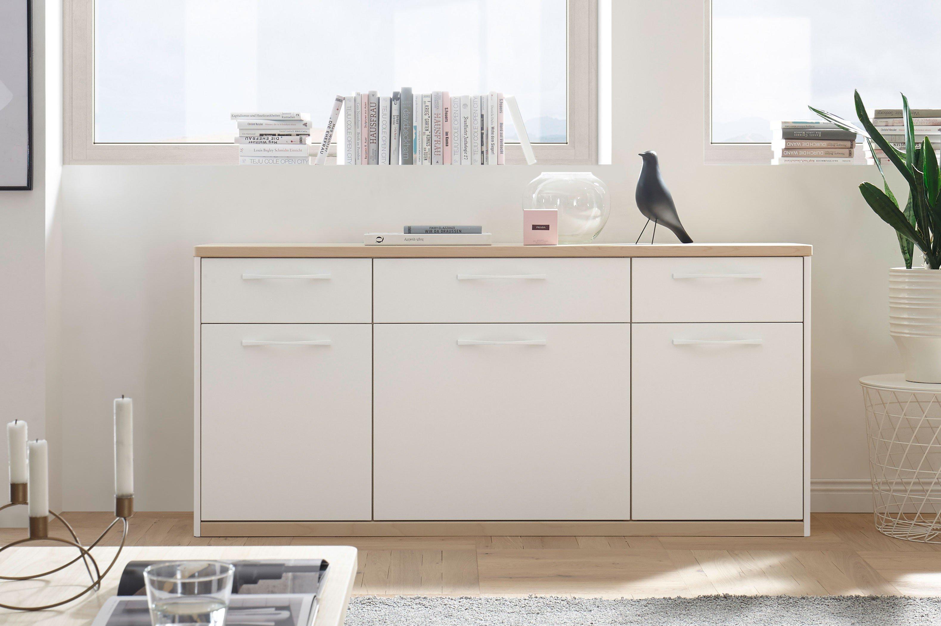 Madie von Wehrsdorfer - Wohnwand PH 456 weiß/ Asteiche
