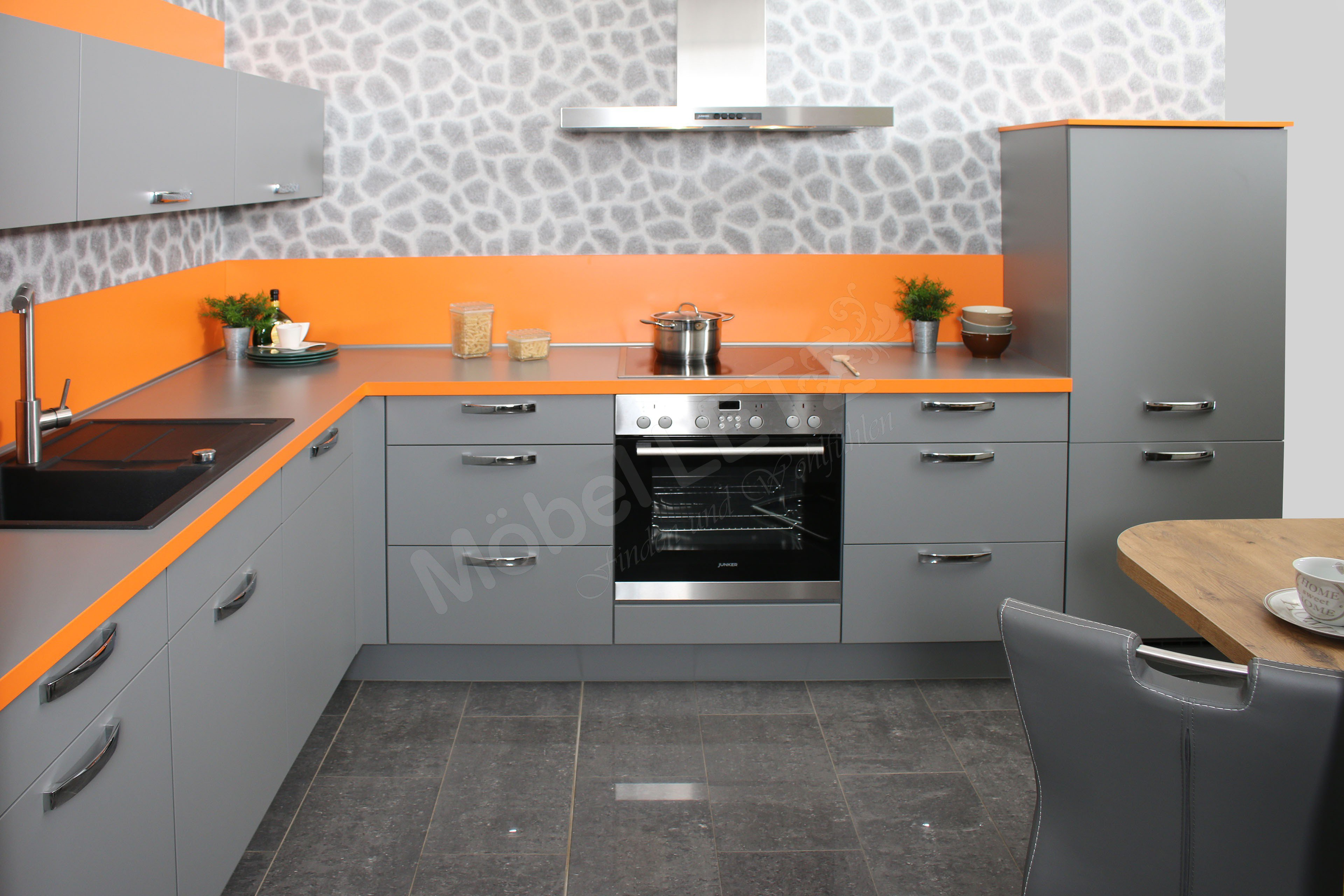 nobilia k chen laser eckk che in mineralgrau orange m bel letz ihr online shop. Black Bedroom Furniture Sets. Home Design Ideas