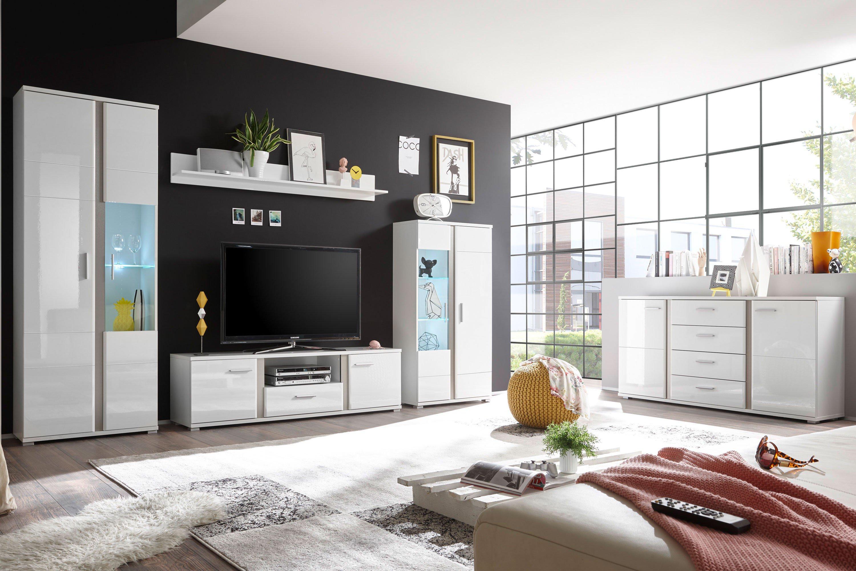 Hbz Meble Wohnwand Quebec Weiss Inox Mobel Letz Ihr Online Shop