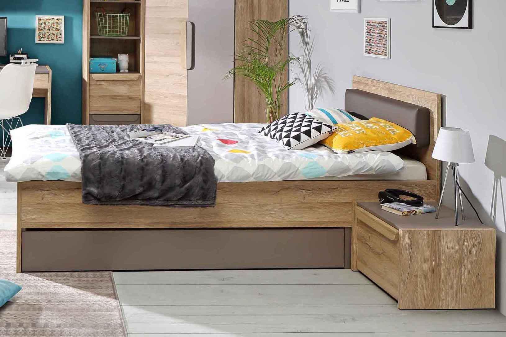 Fabelhaft Jugendbett Sammlung Von Malakka Von Forte - Mit Kopfteilpolster Eiche