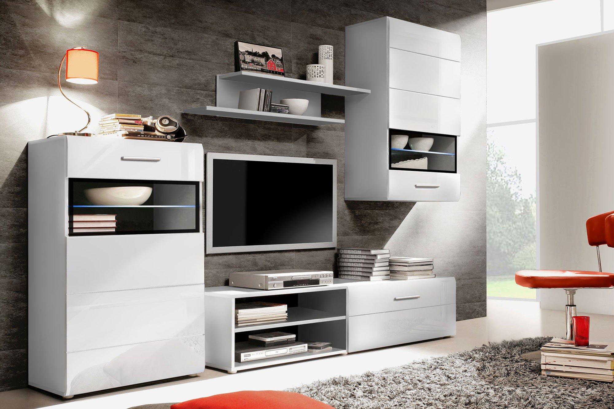 forte wohnwand labe wei matt m bel letz ihr online shop. Black Bedroom Furniture Sets. Home Design Ideas