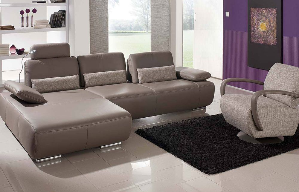 ledersofa miami grau braun von k w polsterm bel m bel. Black Bedroom Furniture Sets. Home Design Ideas