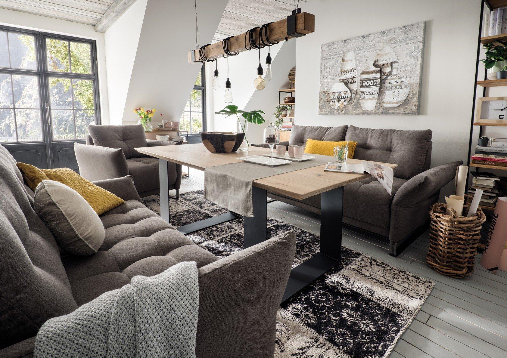 Wohn Gluck Lich Nino Dining Sofa 3 Sitzig Grau Mobel Letz Ihr