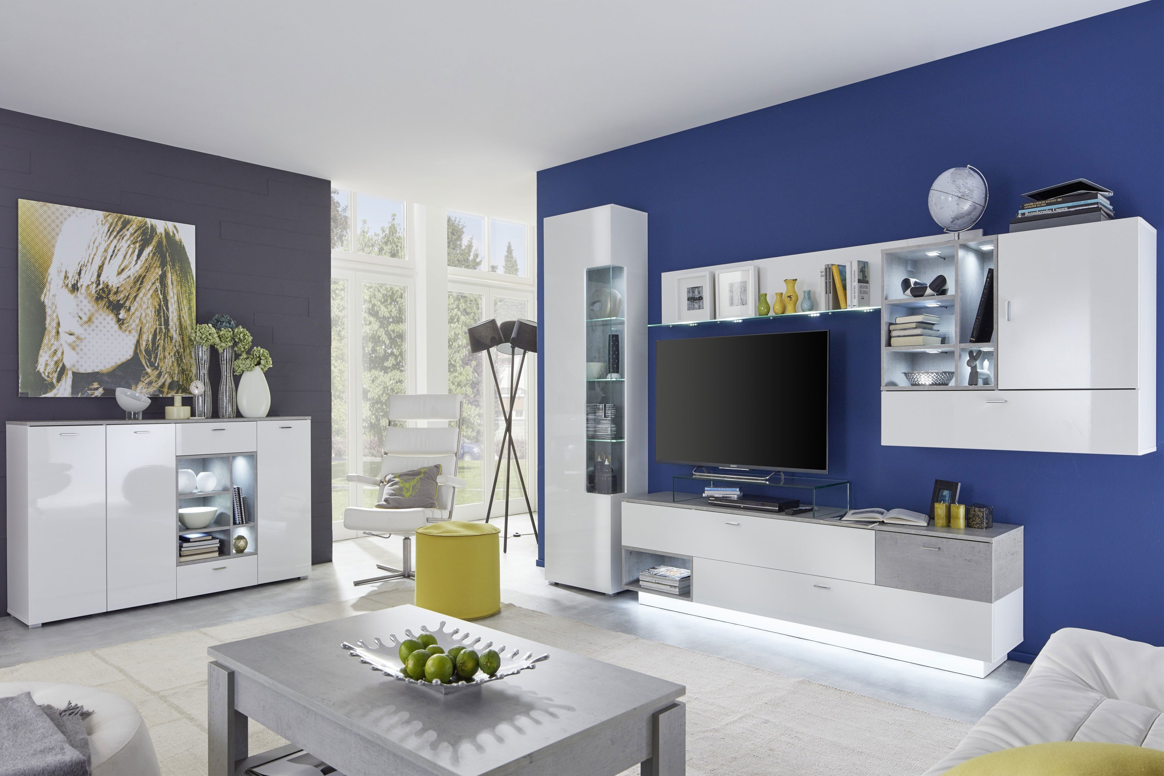 wohnwand regon von inter furn wei beton industry m bel. Black Bedroom Furniture Sets. Home Design Ideas