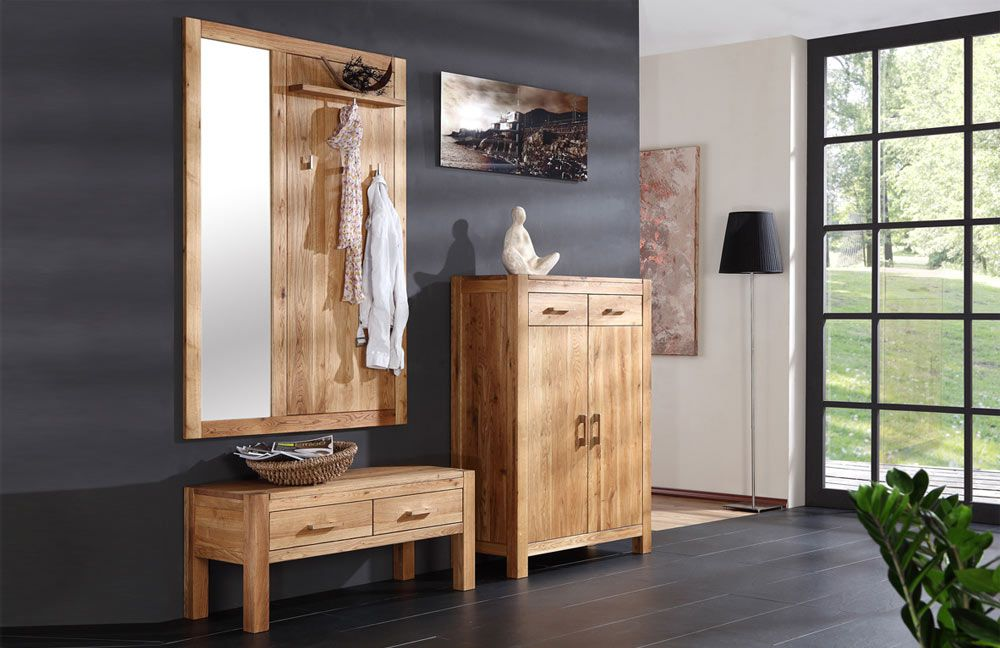 garderobe casa aus ge lter und vollmassiver wildeiche. Black Bedroom Furniture Sets. Home Design Ideas