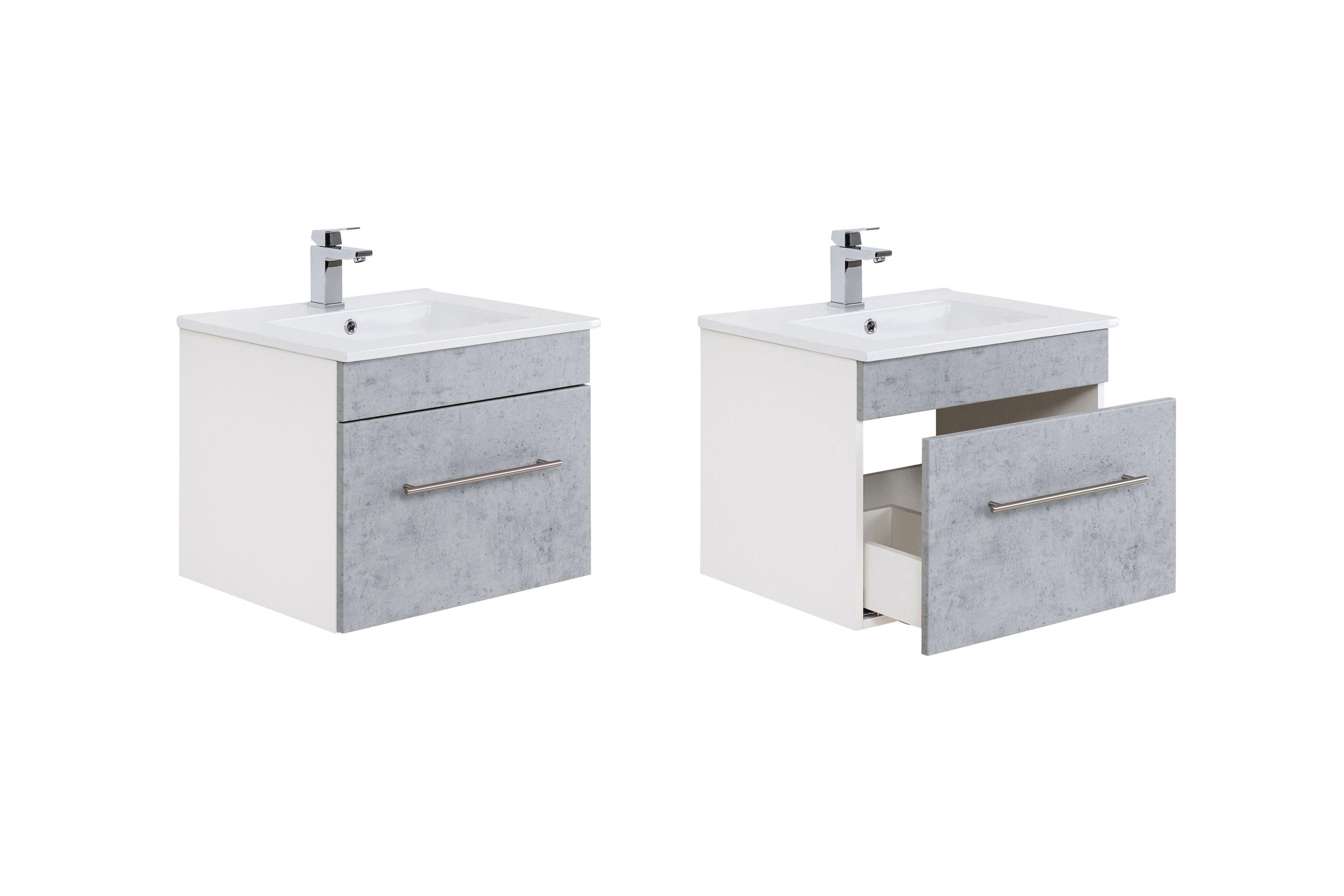 Posseik Badezimmer Viva weiß/ Beton | Möbel Letz - Ihr Online-Shop