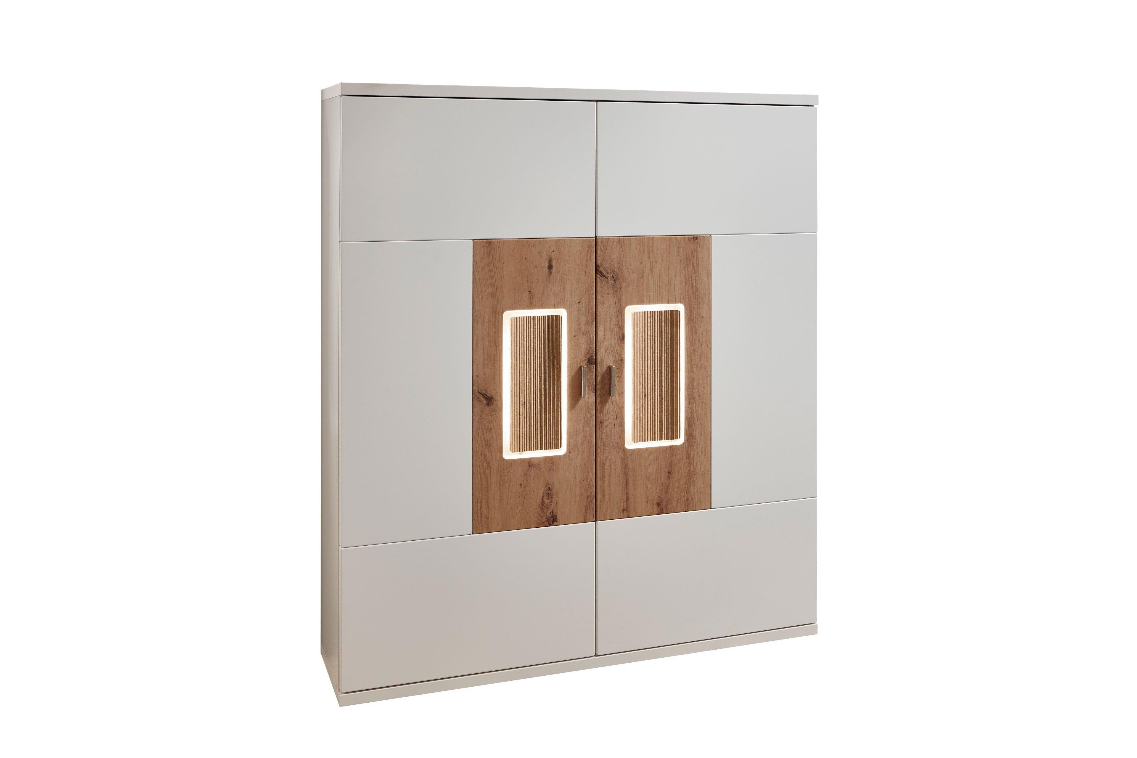 IDEAL Möbel Highboard Falan weiß/ Eiche | Möbel Letz - Ihr Online-Shop
