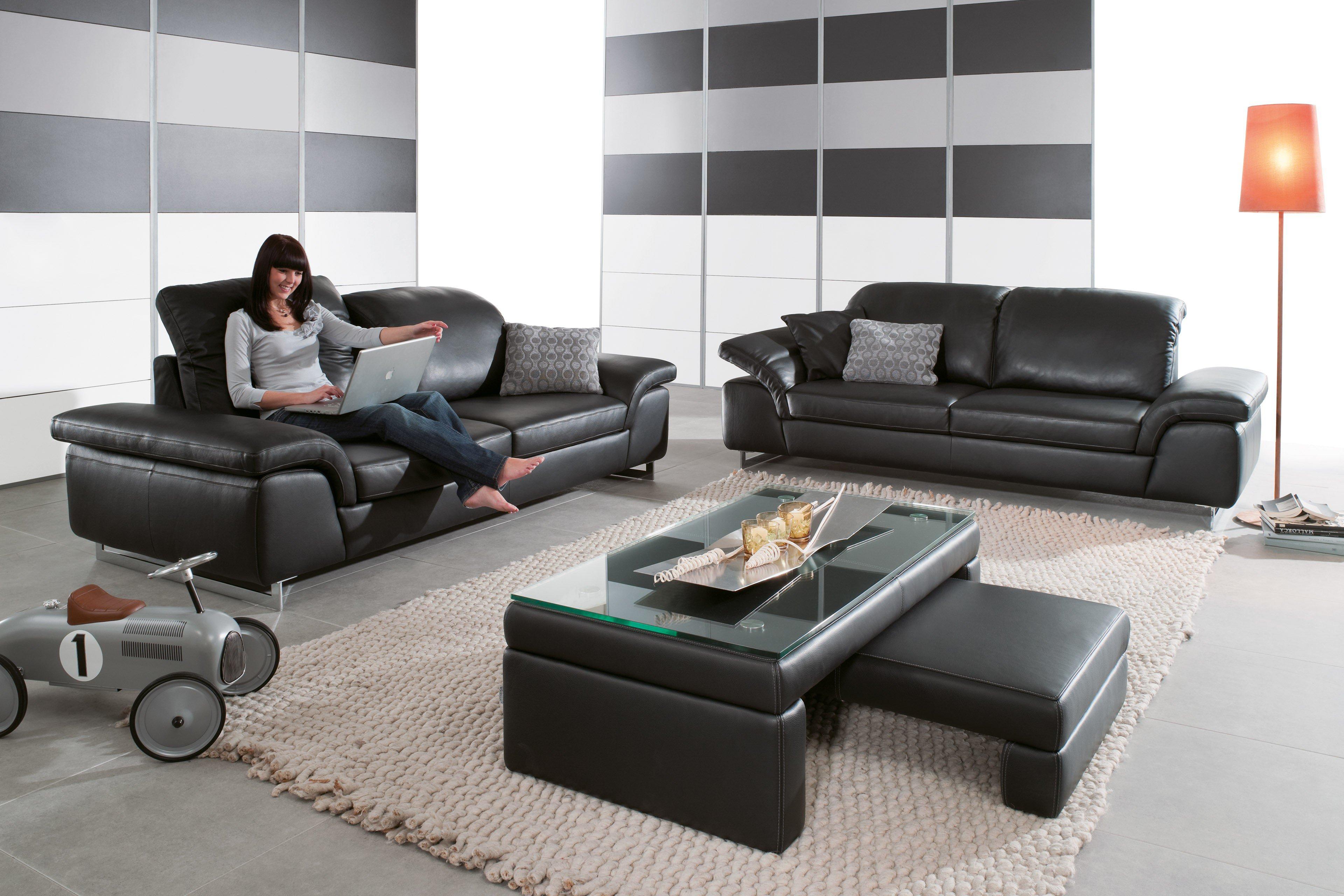 willi schillig 15651 joyzze plus ledergarnitur schwarz. Black Bedroom Furniture Sets. Home Design Ideas