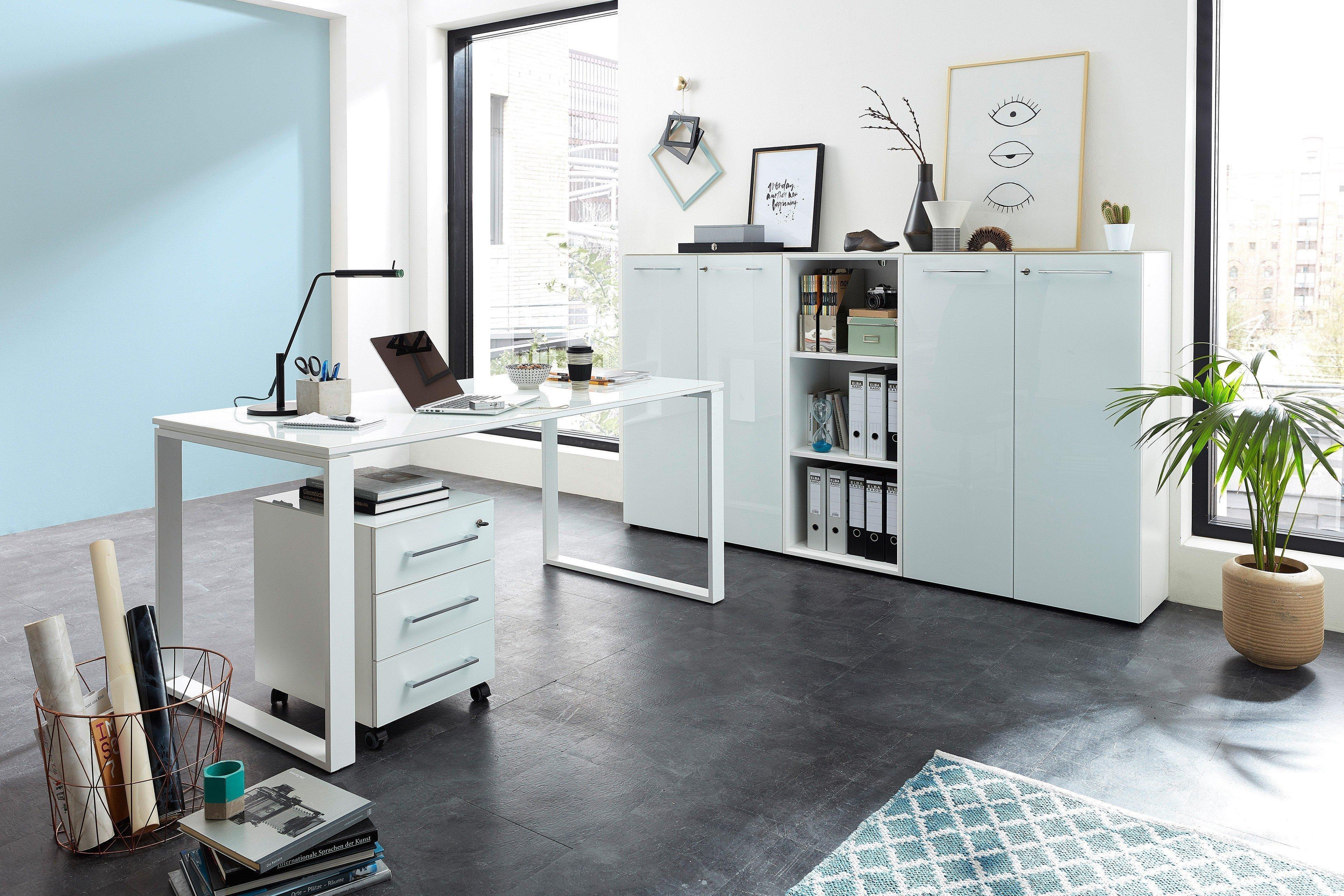 aac33c4eaa5f07 Germania Monteria Schreibtisch weiß mit Glasplatte | Möbel Letz ...