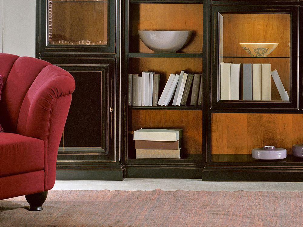 italienische wohnwand in antik schwarz von selva. Black Bedroom Furniture Sets. Home Design Ideas