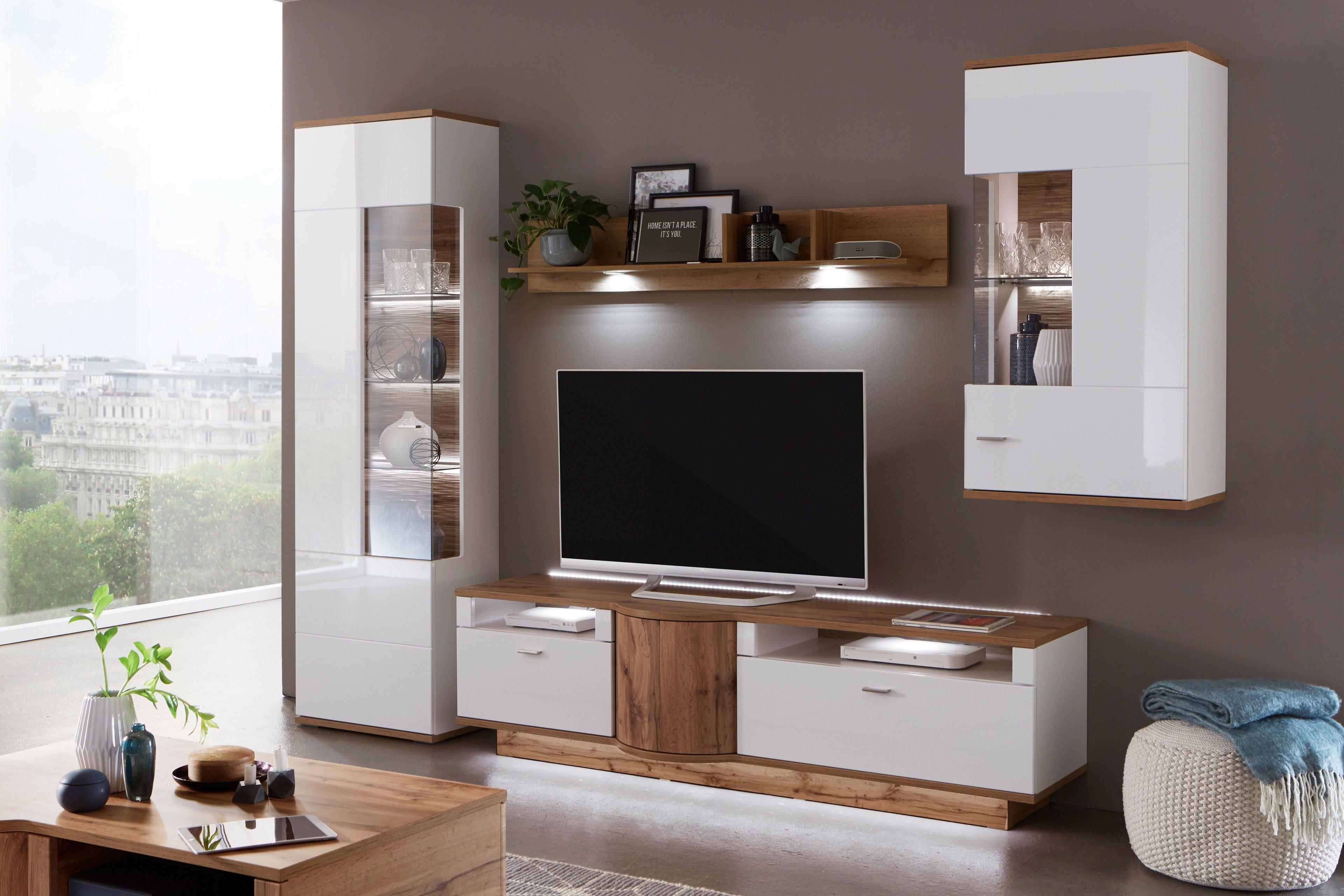 Magic von IDEAL Möbel - Wohnwand 9 weiß/ Eiche Wotan