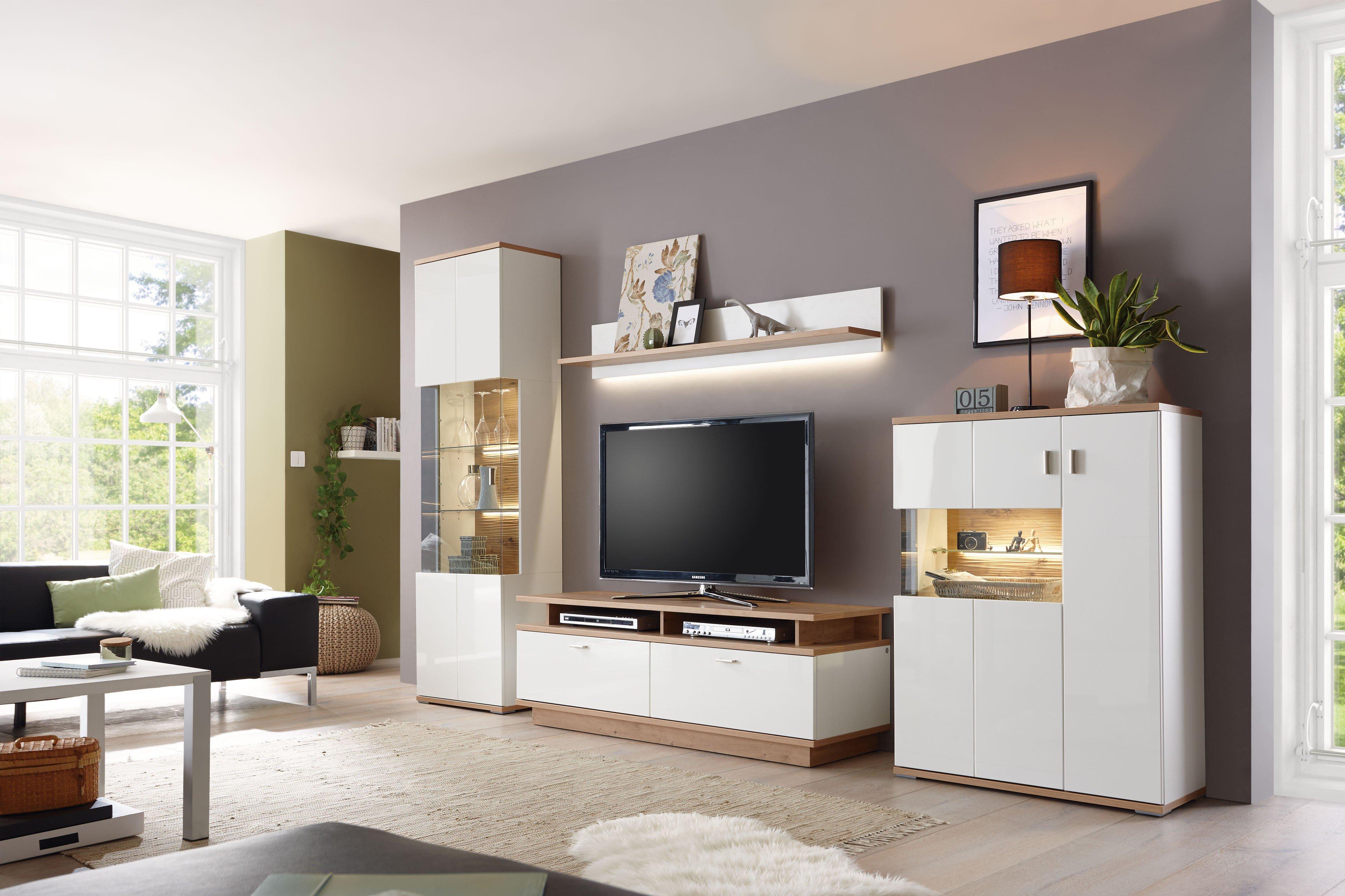 Casada Wohnwand Campione weiß/ Eiche   Möbel Letz   Ihr Online  Shop