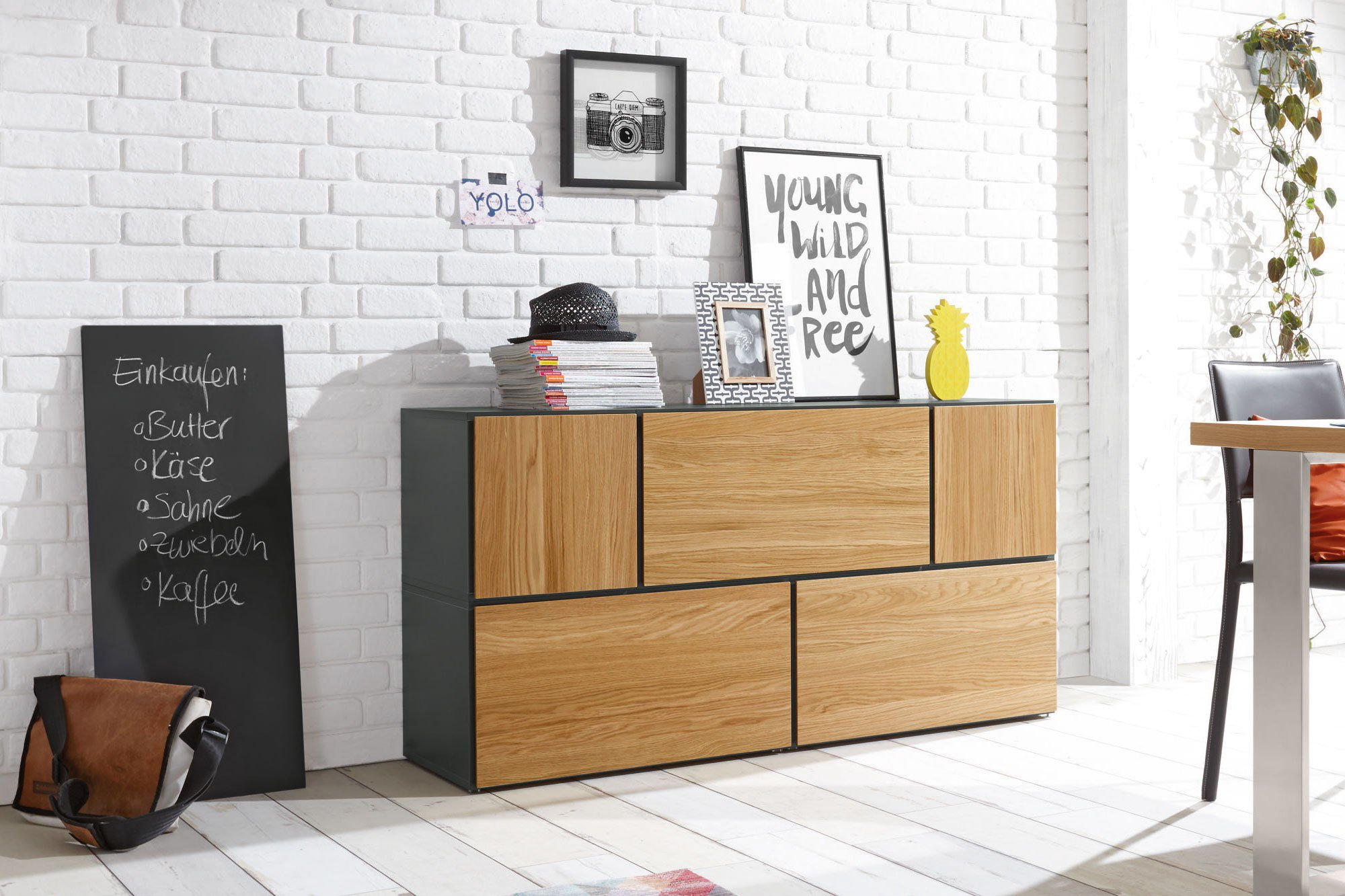 now by h lsta to go box klein 7136 schiefergrau natureiche m bel letz ihr online shop. Black Bedroom Furniture Sets. Home Design Ideas