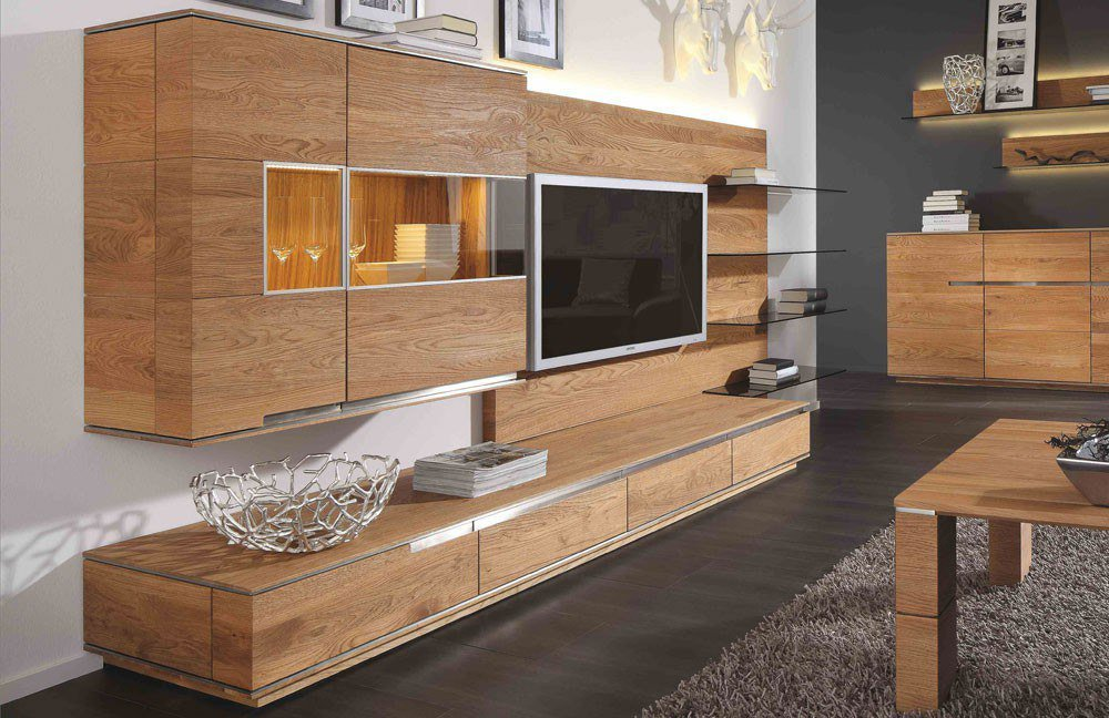 wohnwand acerro ac 76600 rustikale asteiche von wimmer m bel letz ihr online shop. Black Bedroom Furniture Sets. Home Design Ideas