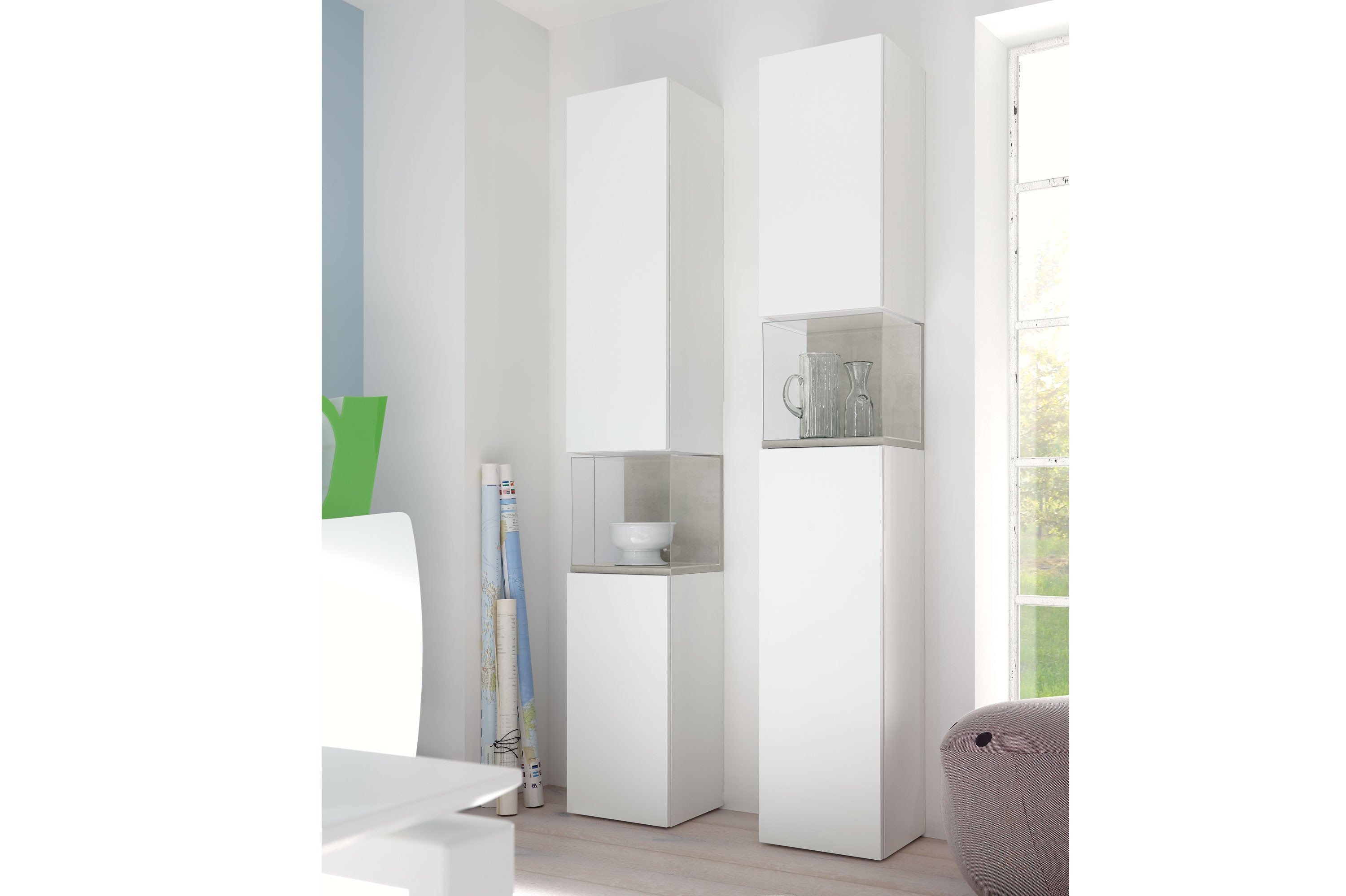 now by h lsta for you vitrine wei betongrau m bel. Black Bedroom Furniture Sets. Home Design Ideas