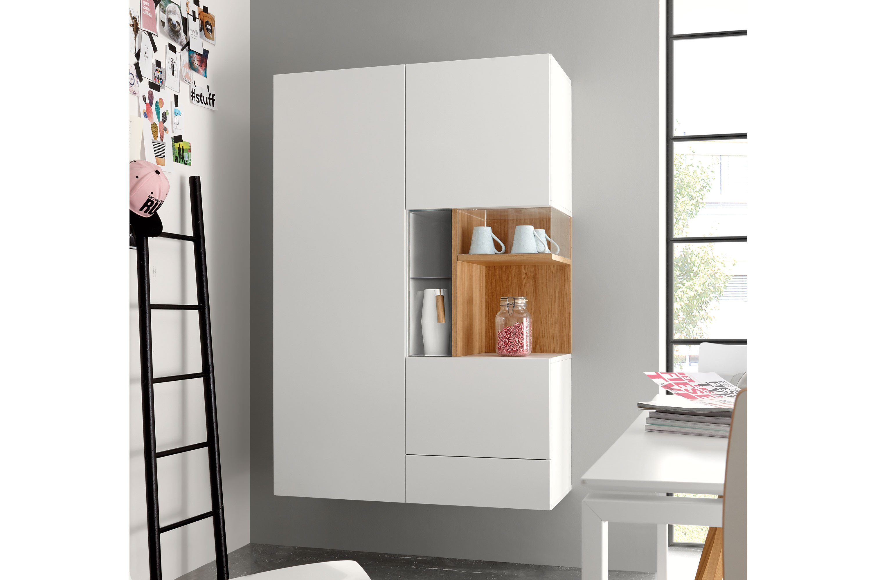 now by h lsta for you vitrine 980071 wei natureiche. Black Bedroom Furniture Sets. Home Design Ideas