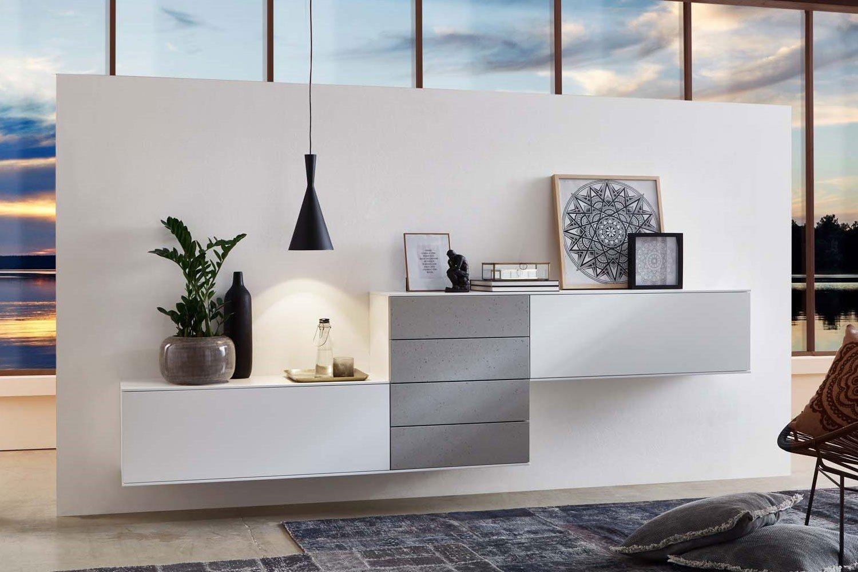 iro se5000 wohnwand wei mit beton m bel letz ihr. Black Bedroom Furniture Sets. Home Design Ideas
