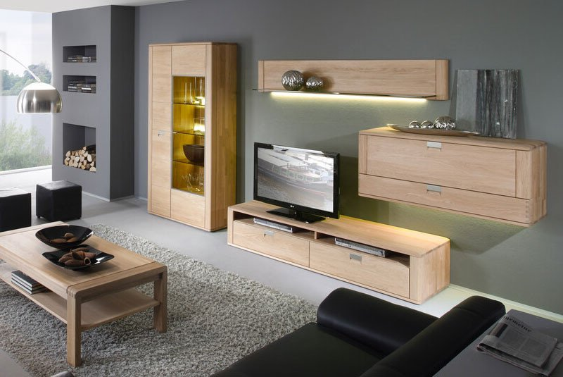 decker wohnwand valenza 17520 eiche bianco m bel letz ihr online shop. Black Bedroom Furniture Sets. Home Design Ideas