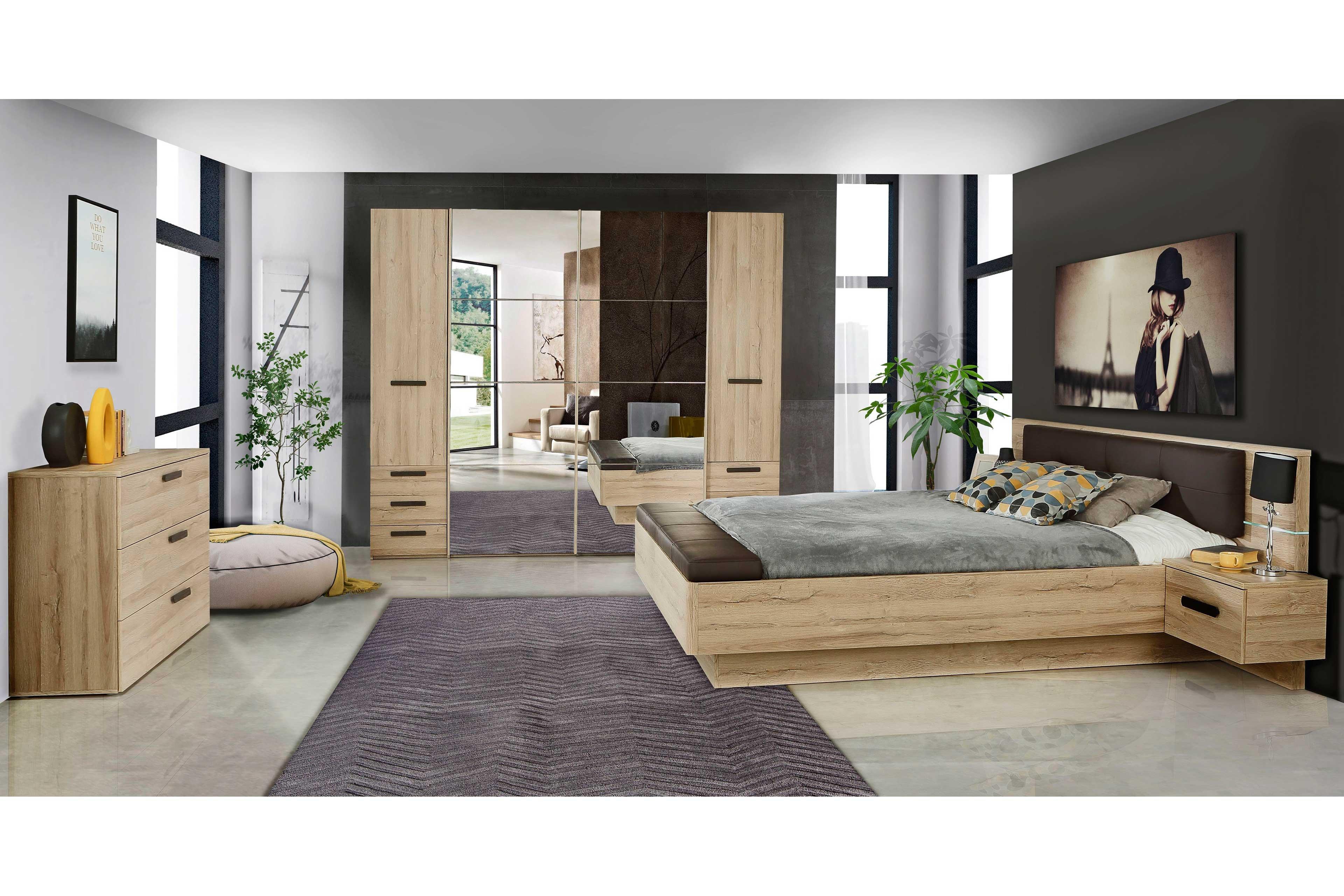 Ufus von Forte - Schlafzimmer-Set: Schrank & Bettanlage 180x200