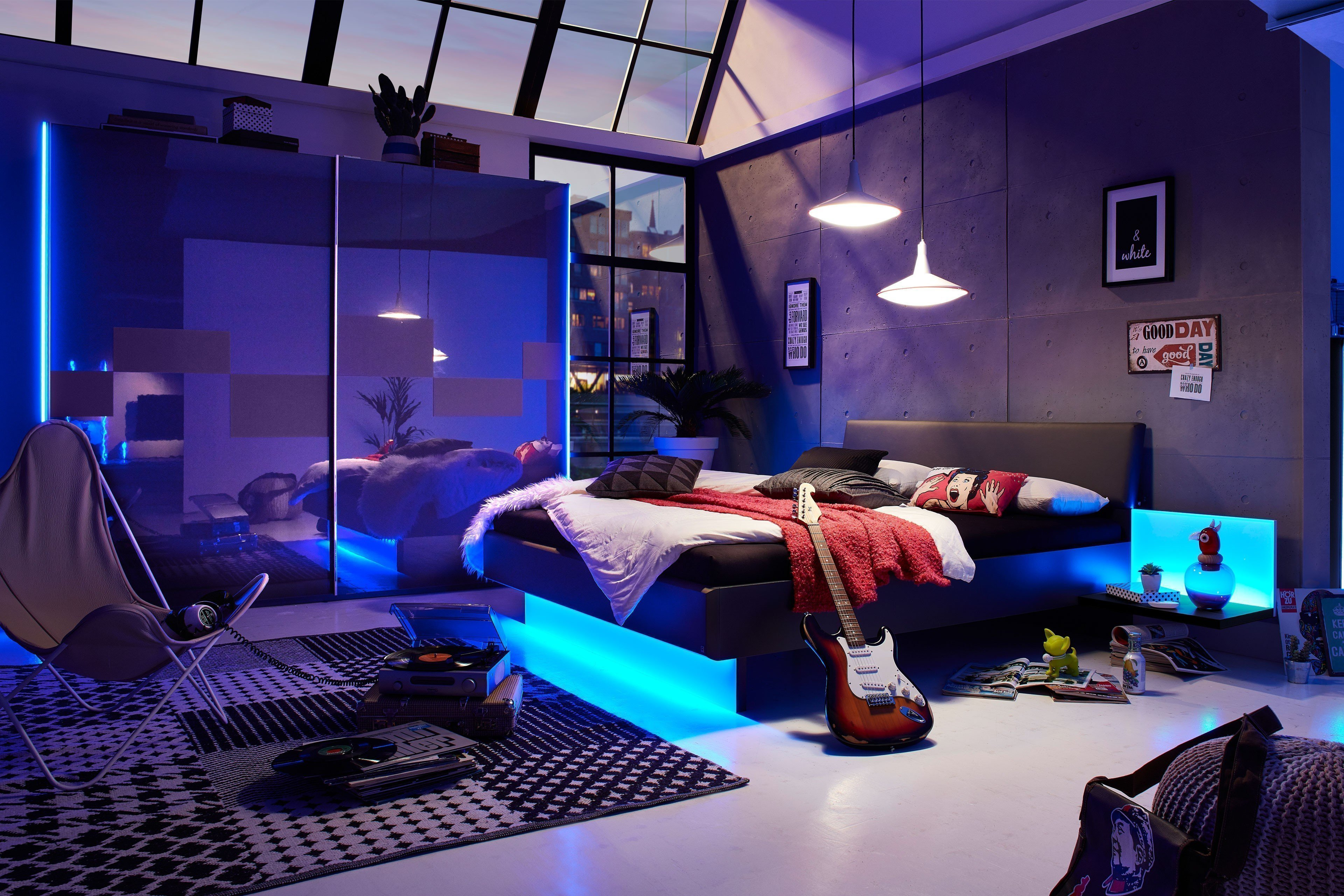 JOY von LEONARDO living - Schlafzimmer anthrazit Glasabsetzungen