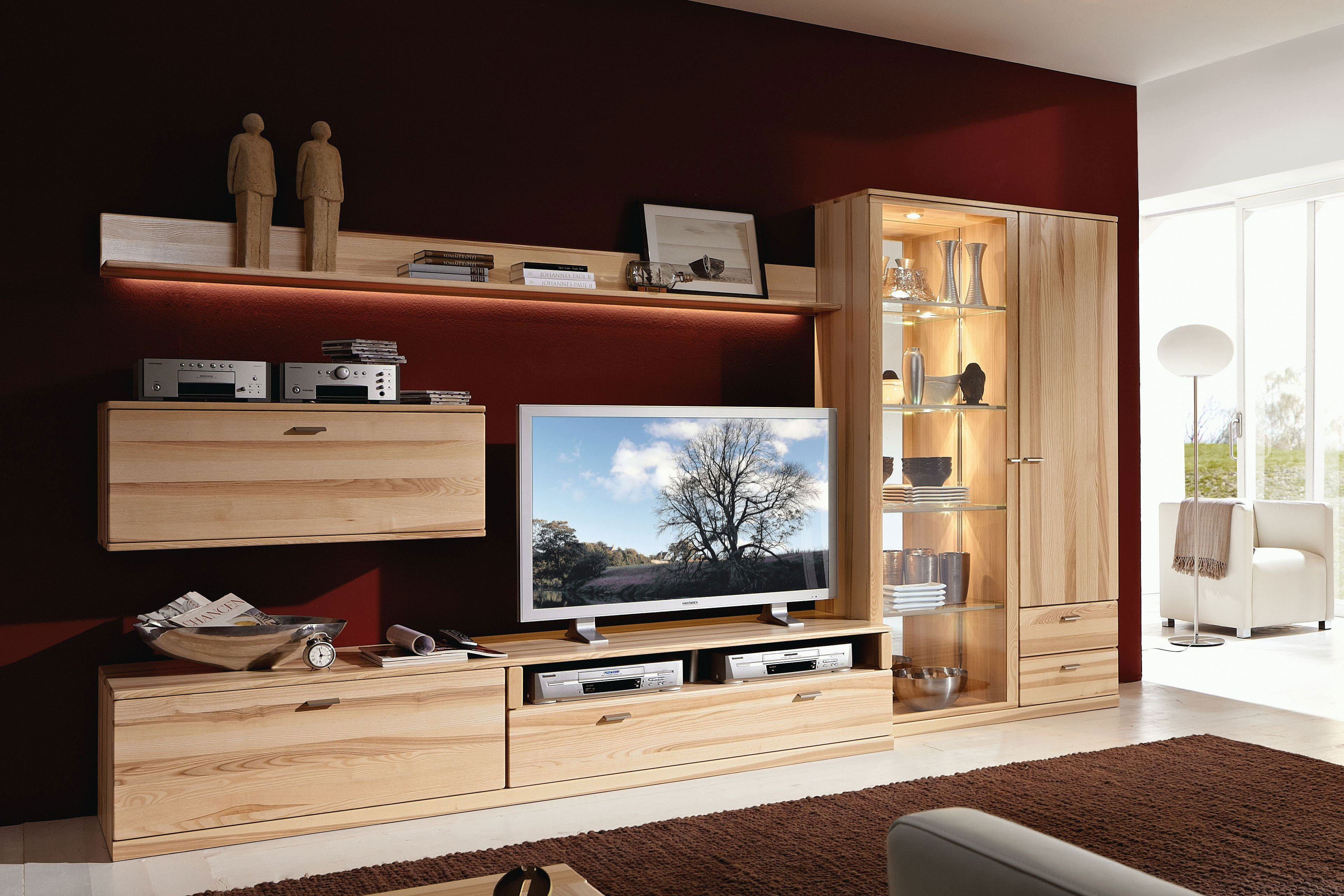 rietberger m belwerke wohnwand lyon 6779 kernesche m bel. Black Bedroom Furniture Sets. Home Design Ideas