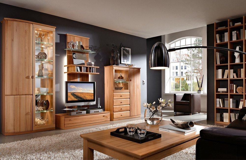 Designer Wohnwand Kernbuche Wohnzimmer Schrankwand Buche Wohnzimmerschrankwand Massiv Incl