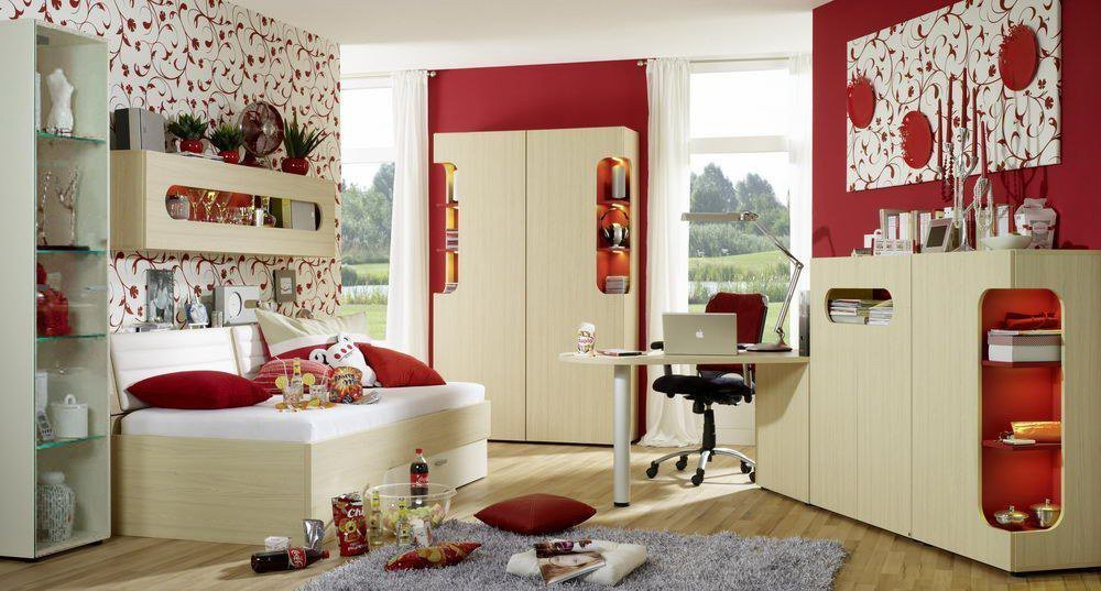 rudolf max i jugendzimmer ahorn rot m bel letz ihr. Black Bedroom Furniture Sets. Home Design Ideas