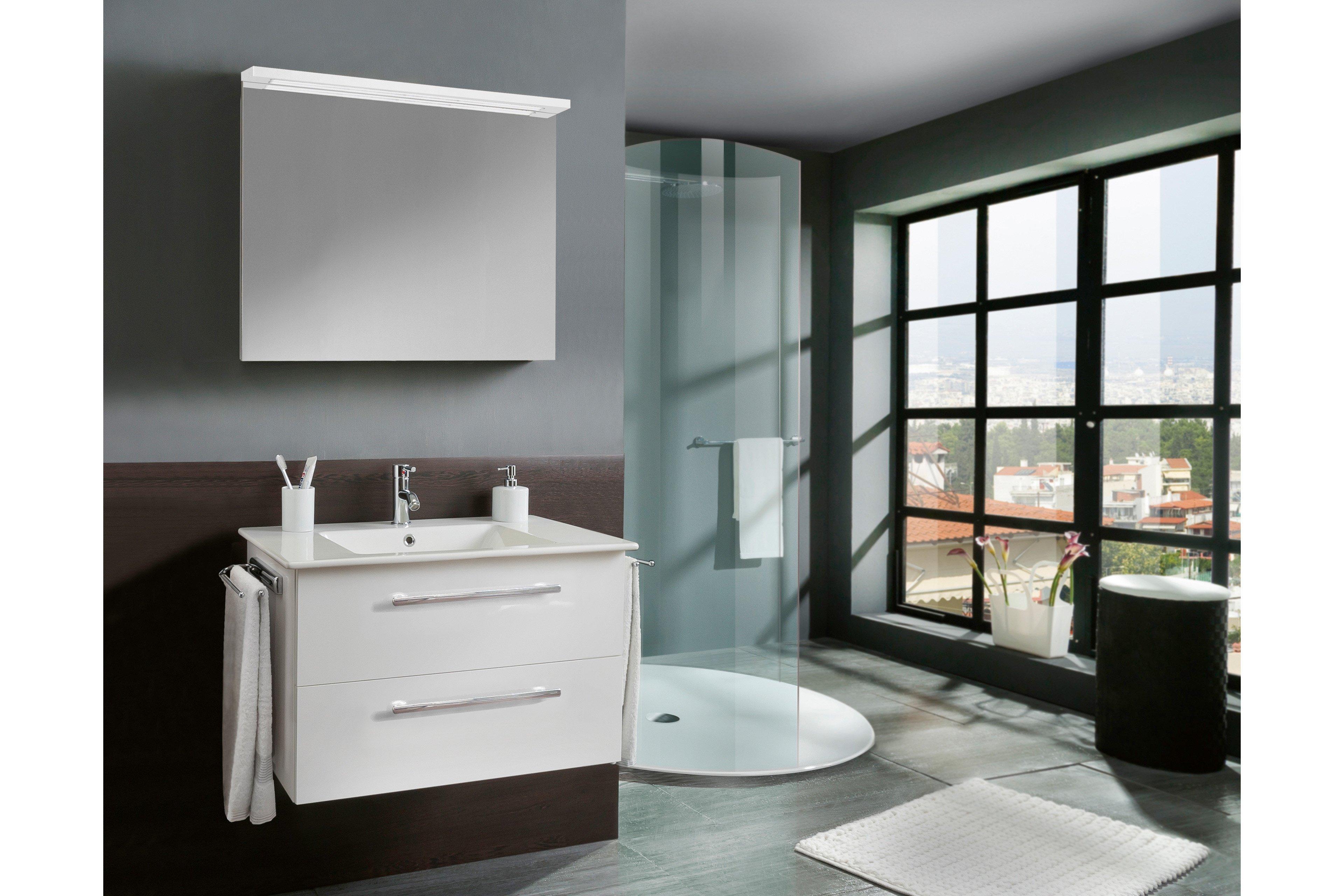3030 von Marlin - Badezimmer weiß Seidenglanz mit Flächenspiegel