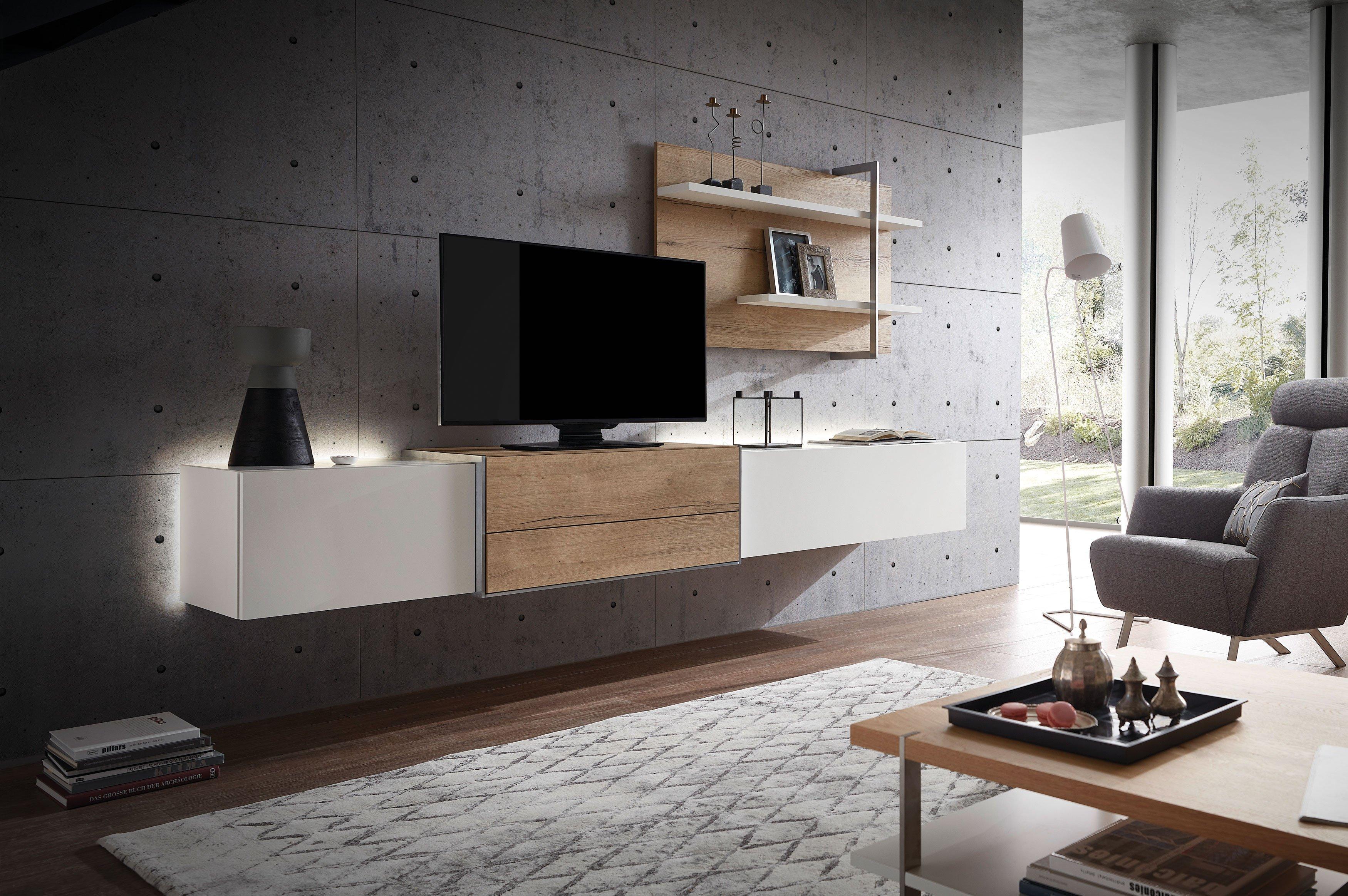 Die Hausmarke Media Design - Wohnwand MDS 3 weiß/ Kanada Eiche