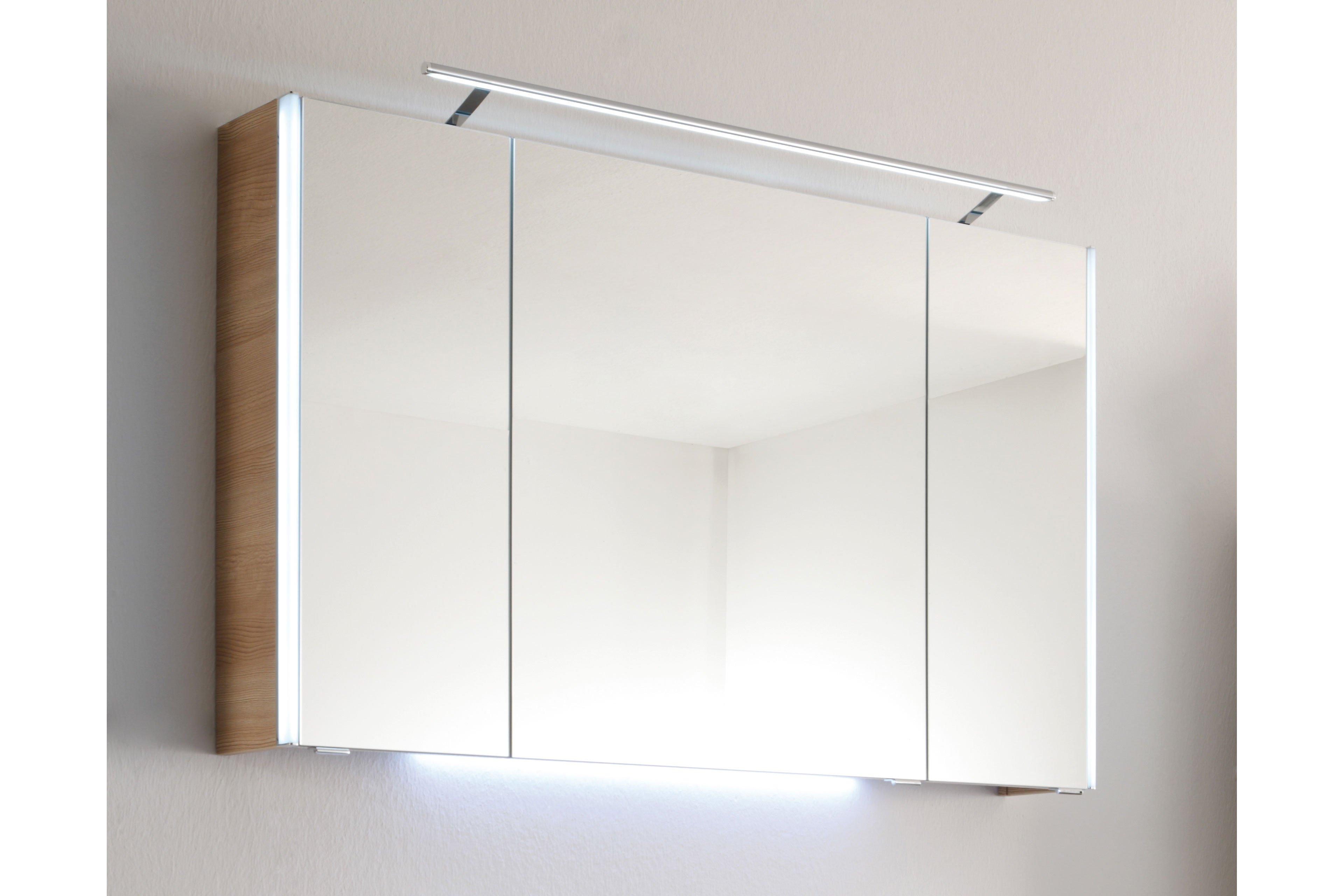 Bad 112 von LEONARDO living - Badezimmer Glas Perlmutt/ Eiche