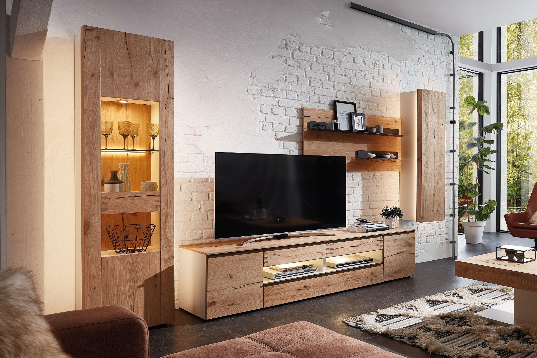Die Hausmarke Light Line 6 - Wohnwand 05 mattes Weiß/ Asteiche