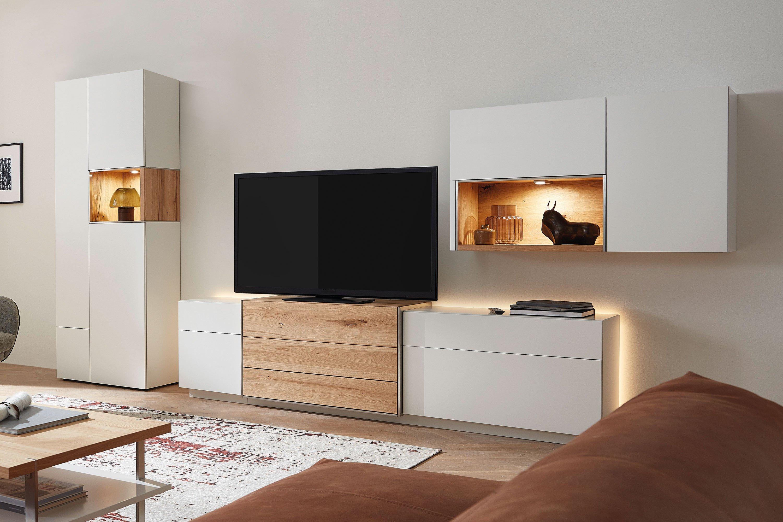 die hausmarke media design - wohnwand mdfs 18 2-tlg. in weiß