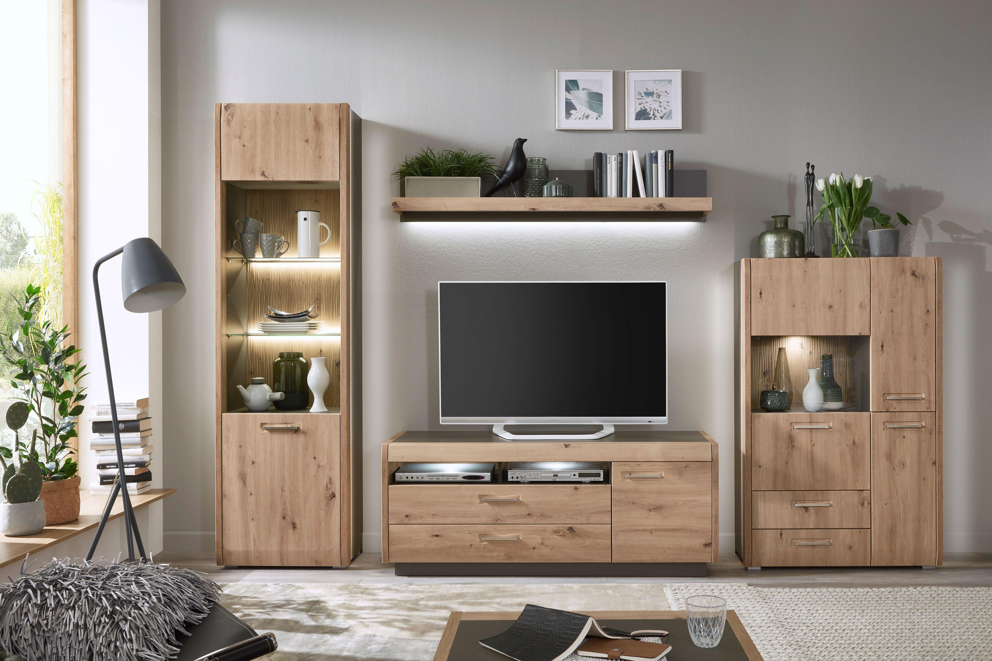 Austin von IDEAL Möbel - Wohnwand 9 Eiche Artisan/ taupe grau