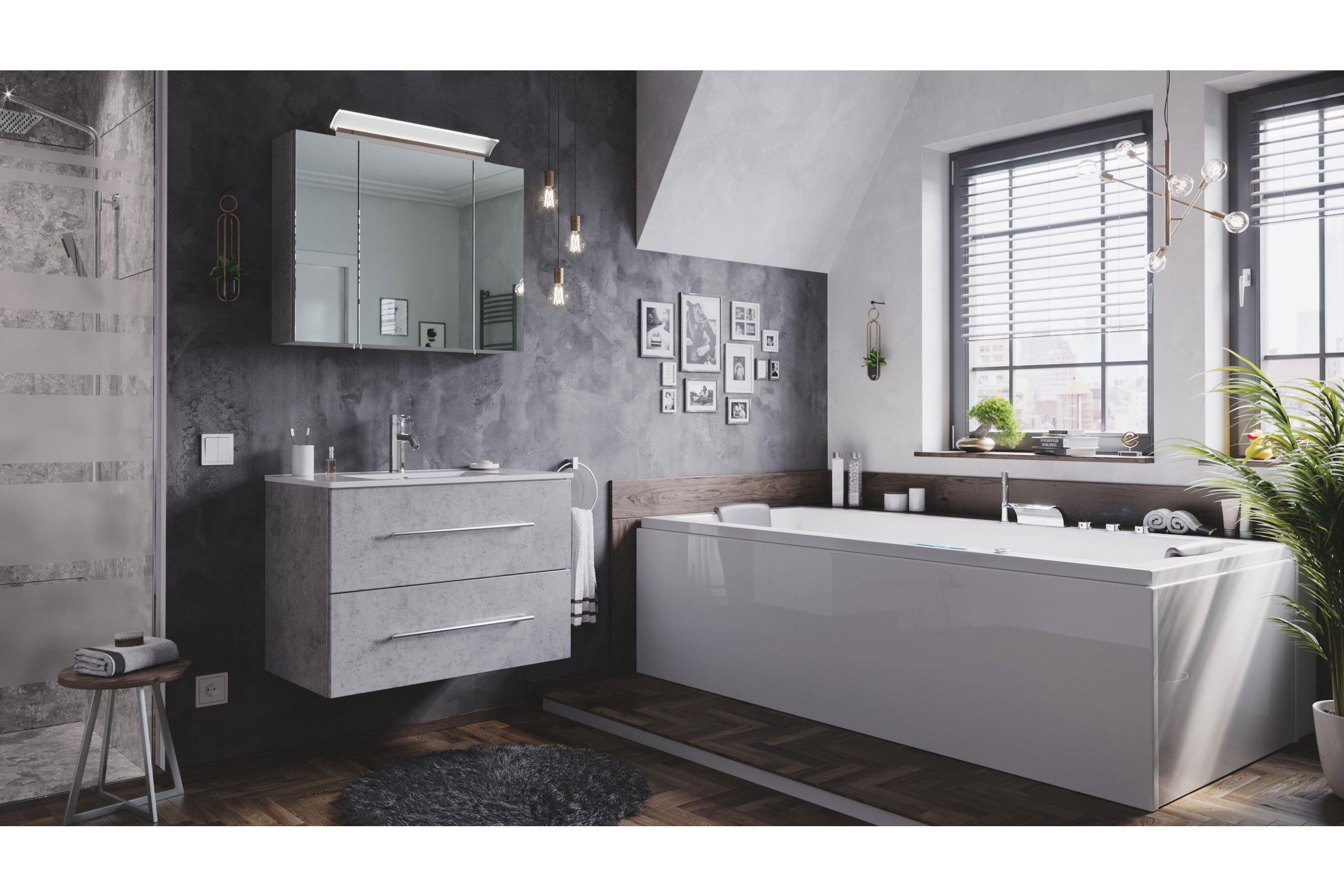 Posseik Badezimmer-Set Homeline in Beton mit LED-Beleuchtung   Möbel Letz -  Ihr Online-Shop