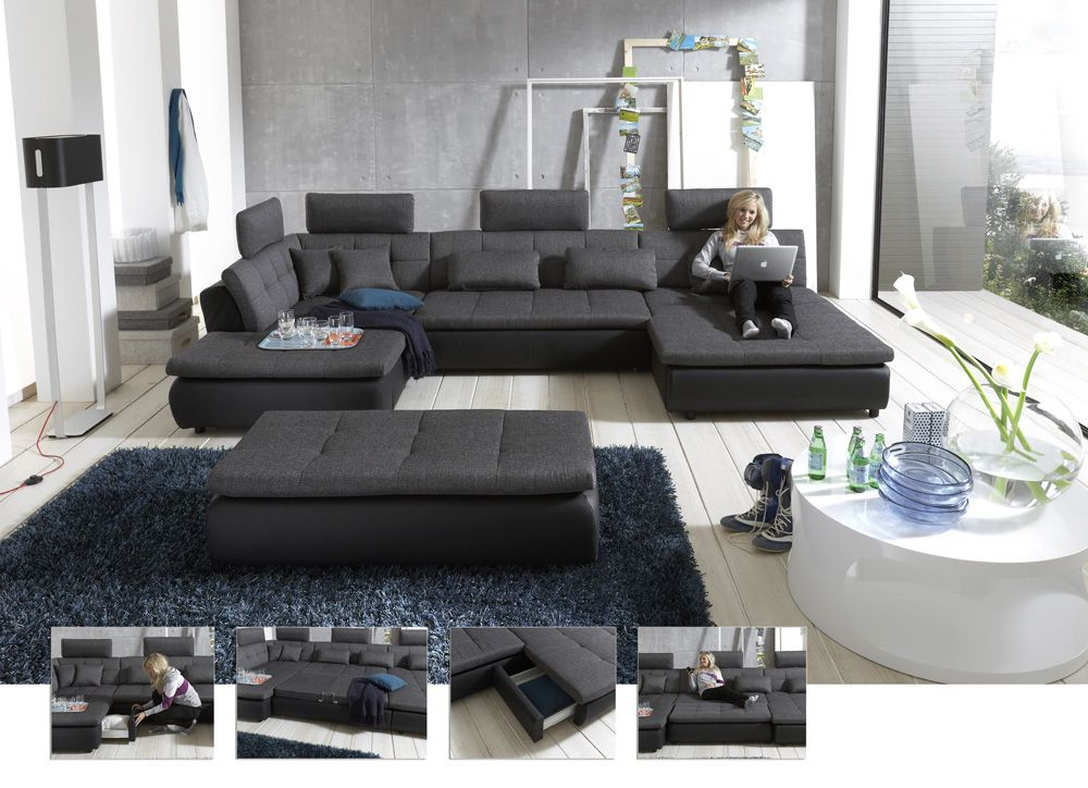 megapol wohnlandschaft free in schwarz grau m bel letz ihr online shop. Black Bedroom Furniture Sets. Home Design Ideas