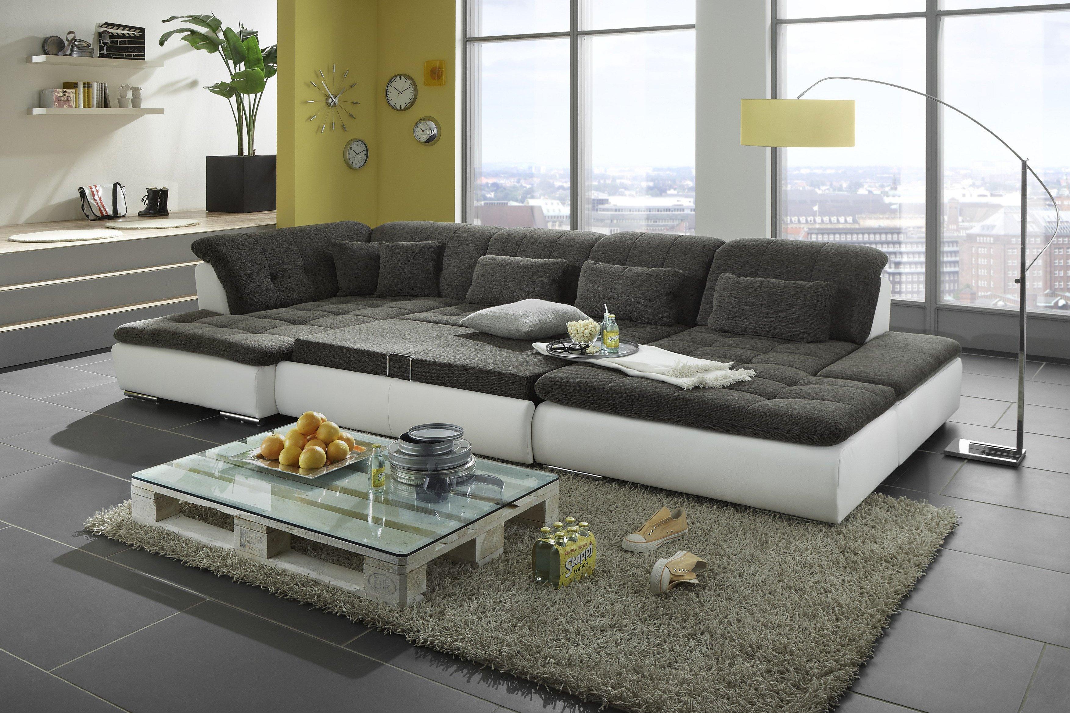 megapol couchgarnitur lomo wei grau m bel letz ihr. Black Bedroom Furniture Sets. Home Design Ideas