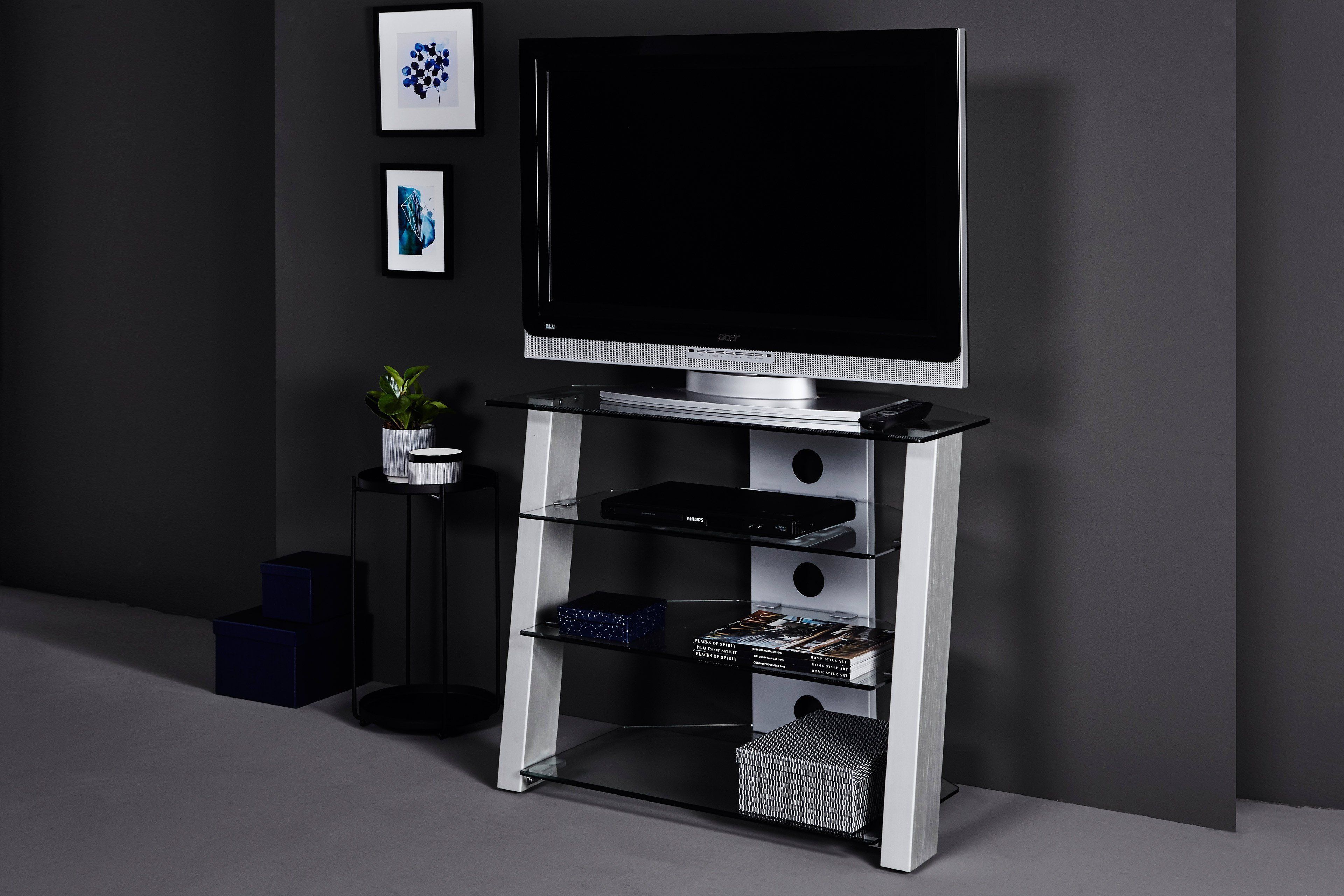 Jahnke Tr 300 Tv Mobel Klarglas Edelstahl Optik Mobel Letz Ihr Online Shop
