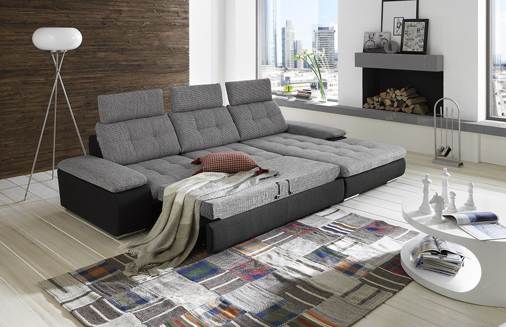 move von megapol ecksofa grau schwarz polsterm bel g nstig online kaufen sofa couch. Black Bedroom Furniture Sets. Home Design Ideas