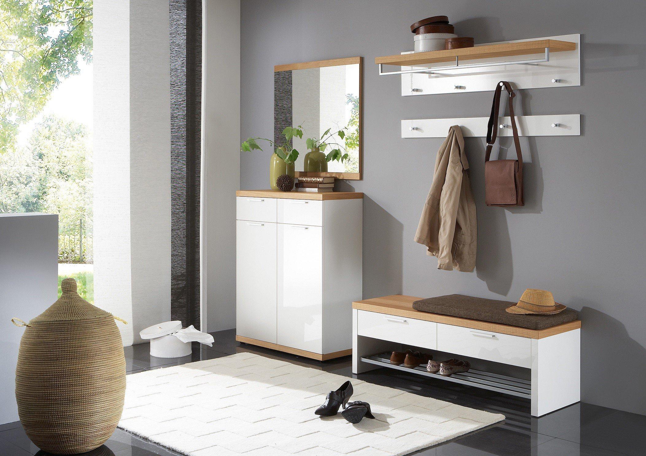 voss garderobe burgos wei hochglanz eiche m bel letz ihr online shop. Black Bedroom Furniture Sets. Home Design Ideas
