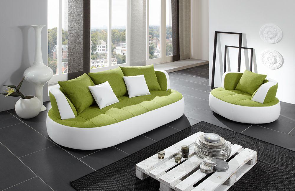 Megasofa sessel  New Look Möbel Bali Trendsofa grün-weiß | Möbel Letz - Ihr Online-Shop