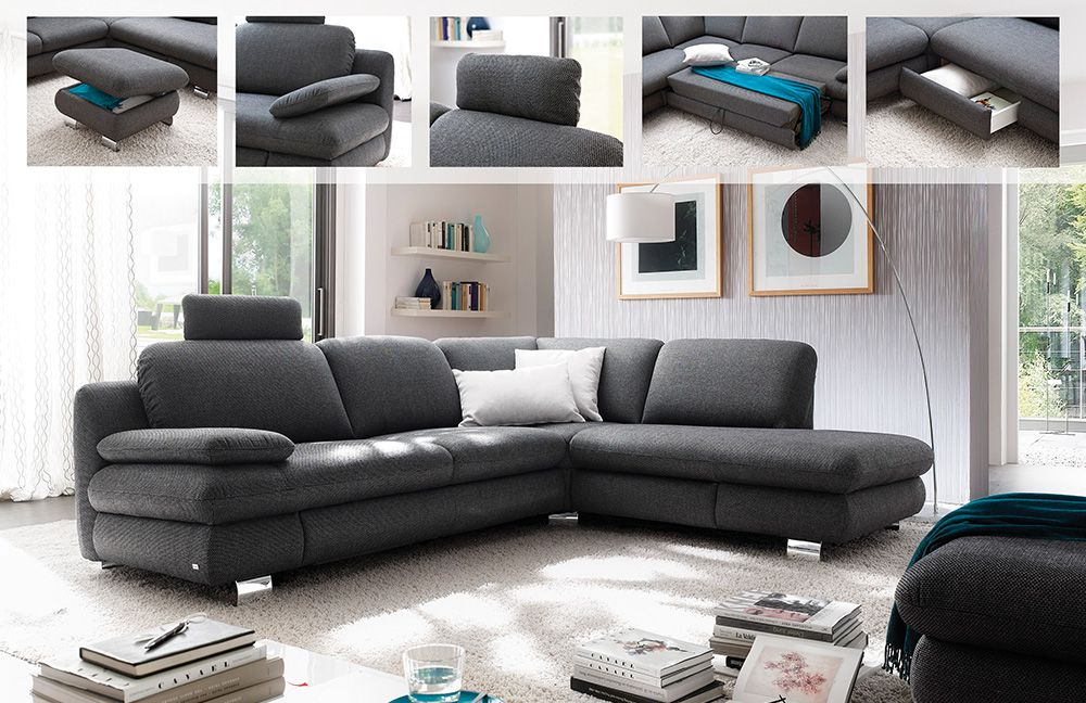 gloria von carina eckcouch grau polsterm bel g nstig online kaufen sofa couch schlafsofa zum. Black Bedroom Furniture Sets. Home Design Ideas