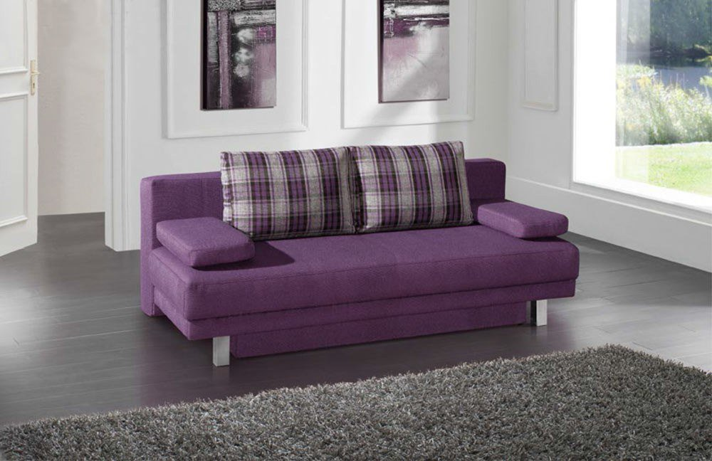 restyl megan schlafsofa im trendigen violett inklusive bettkasten l m bel letz ihr online shop. Black Bedroom Furniture Sets. Home Design Ideas