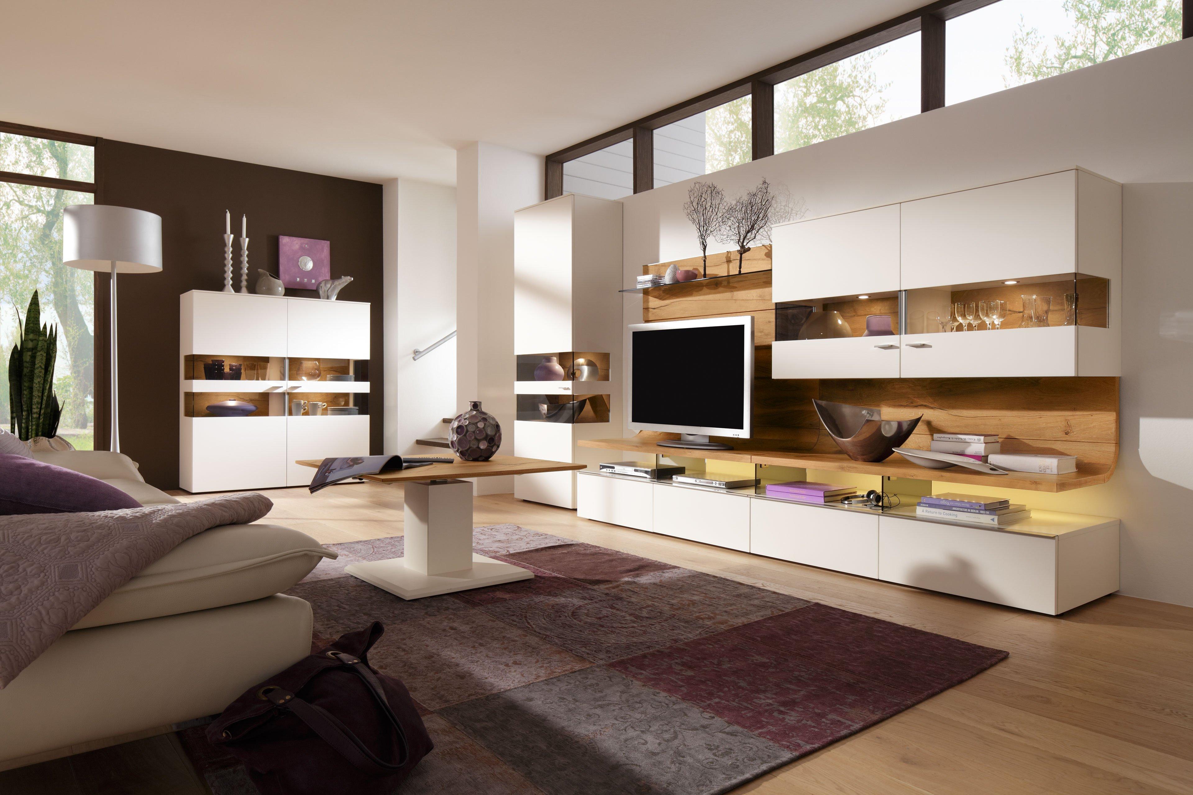 gwinner wohnwand felino fe3 wei astnussbaum natur. Black Bedroom Furniture Sets. Home Design Ideas
