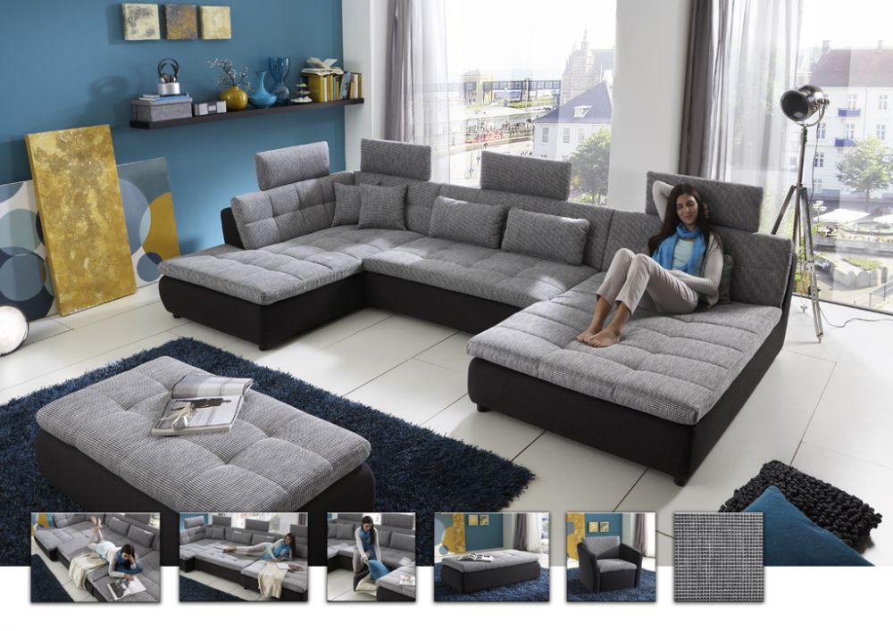 free von megapol wohnlandschaft graphite silver polsterm bel g nstig online kaufen sofa couch. Black Bedroom Furniture Sets. Home Design Ideas