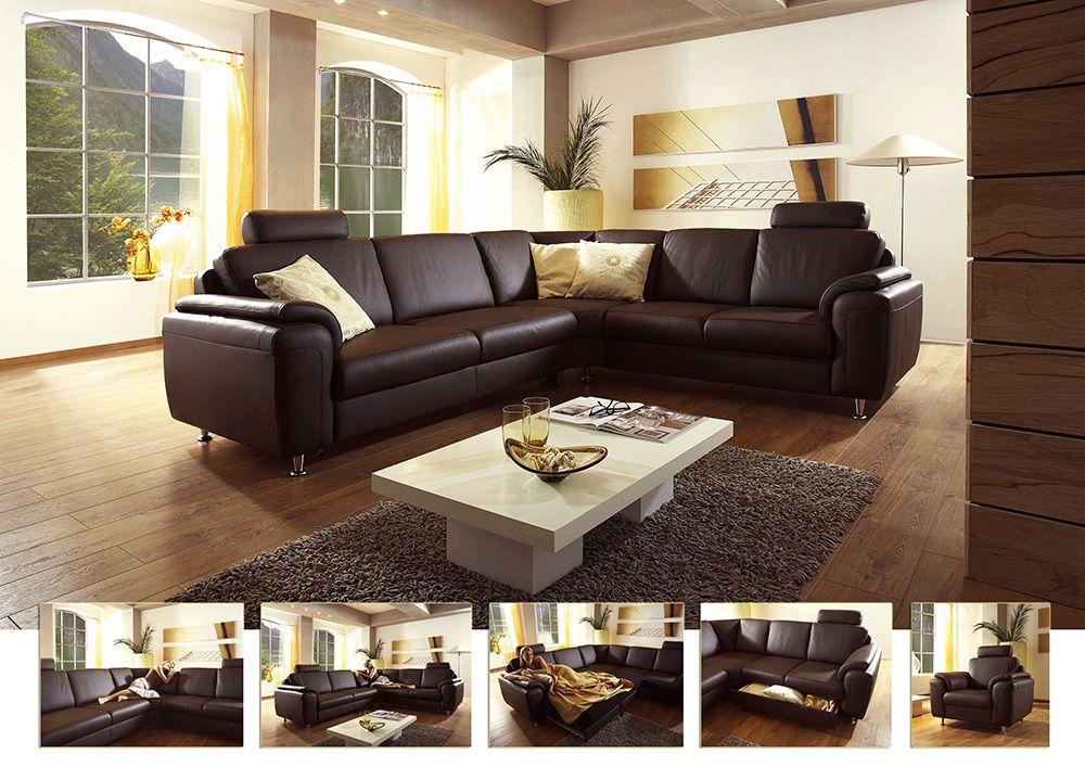 polinova orbit l oxfort sardinien ledersofa braun m bel letz ihr online shop. Black Bedroom Furniture Sets. Home Design Ideas