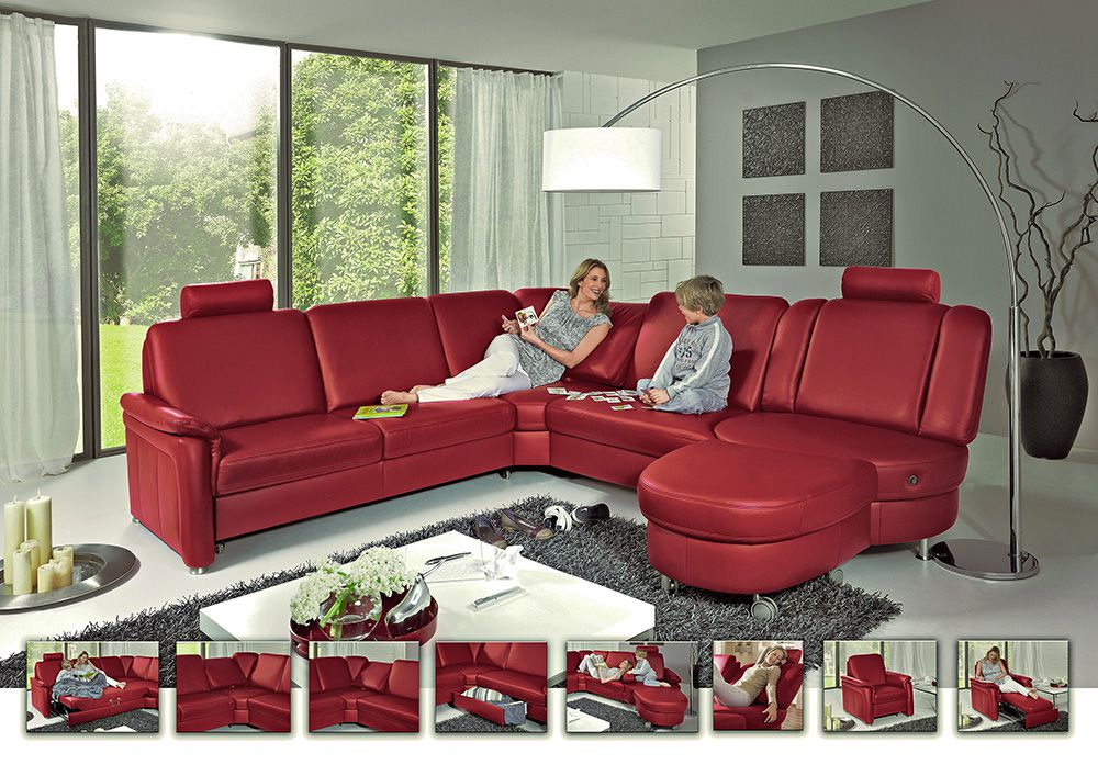 polinova roulette l ledersofa rot m bel letz ihr online shop. Black Bedroom Furniture Sets. Home Design Ideas