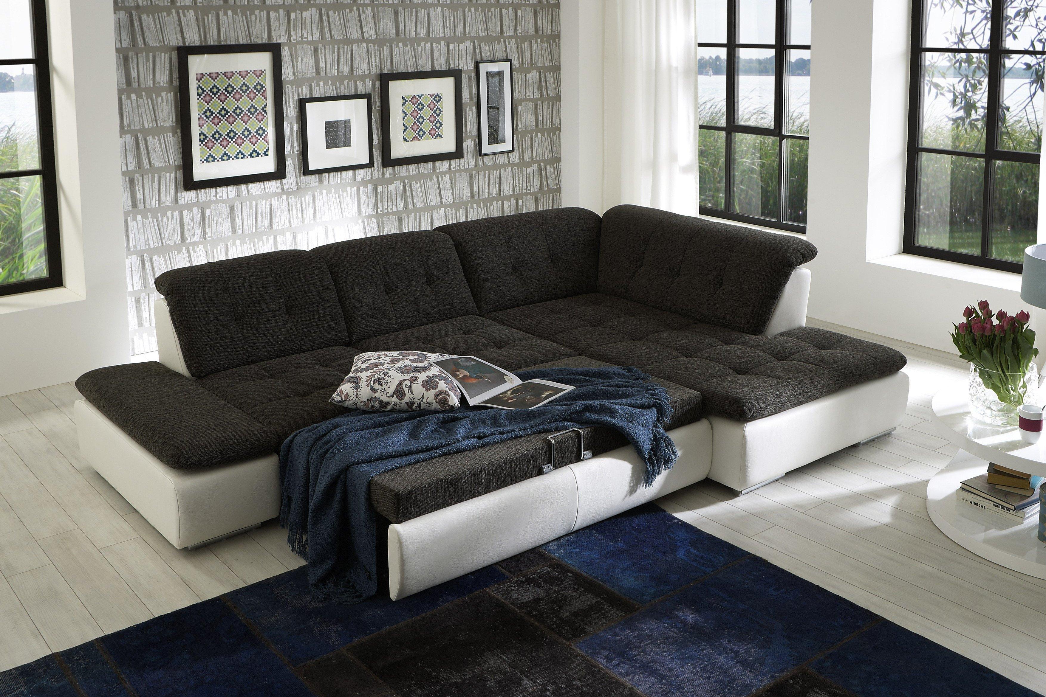 ecksofa lomo wei anthrazit von megapol m bel letz ihr online shop. Black Bedroom Furniture Sets. Home Design Ideas