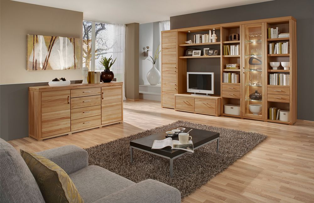 wohnwand oslo ii 85 kernbuche von ideal m bel m bel letz ihr online shop. Black Bedroom Furniture Sets. Home Design Ideas