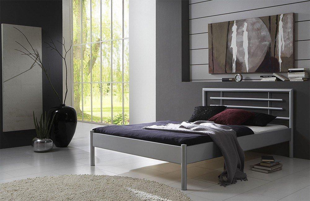 Metallbett silber 90x200  Dico Möbel 201.03 Eva silber Metallbett | Möbel Letz - Ihr Online-Shop