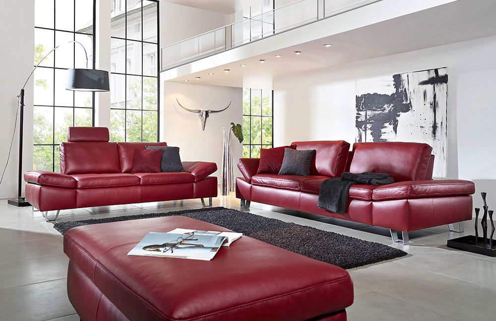 k w dive 7474 ledersofa rot m bel letz ihr online shop. Black Bedroom Furniture Sets. Home Design Ideas